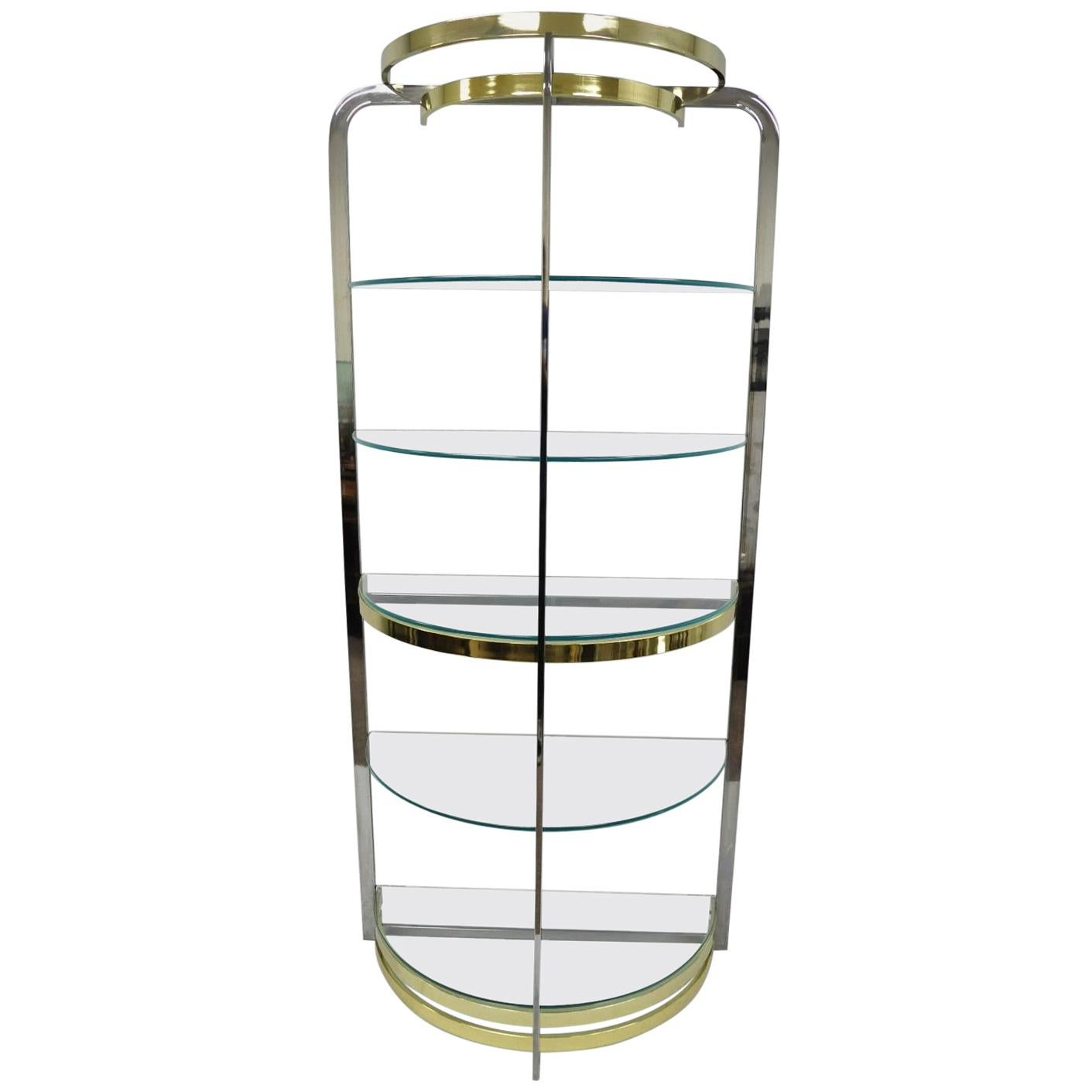 Etagere Cd But Mid Century Modern Brass Glass Etagere Design Institute Of America Milo Baughman