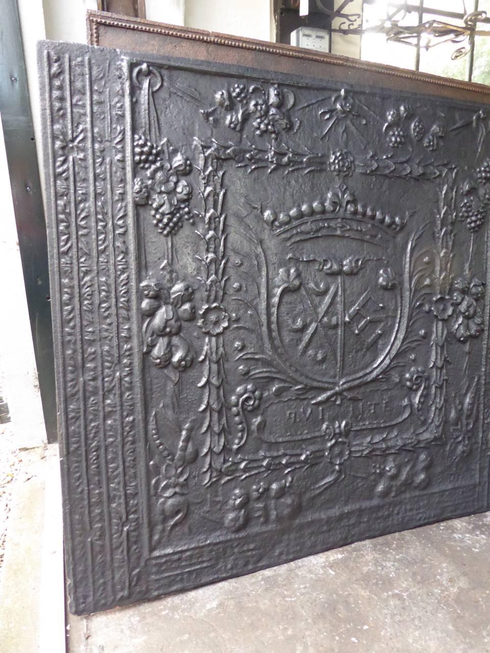 Plaques De Cheminées Héraldiques Coat Of Arms Fireback Of The Schmittburg Orsbeck Alliance 17th Century