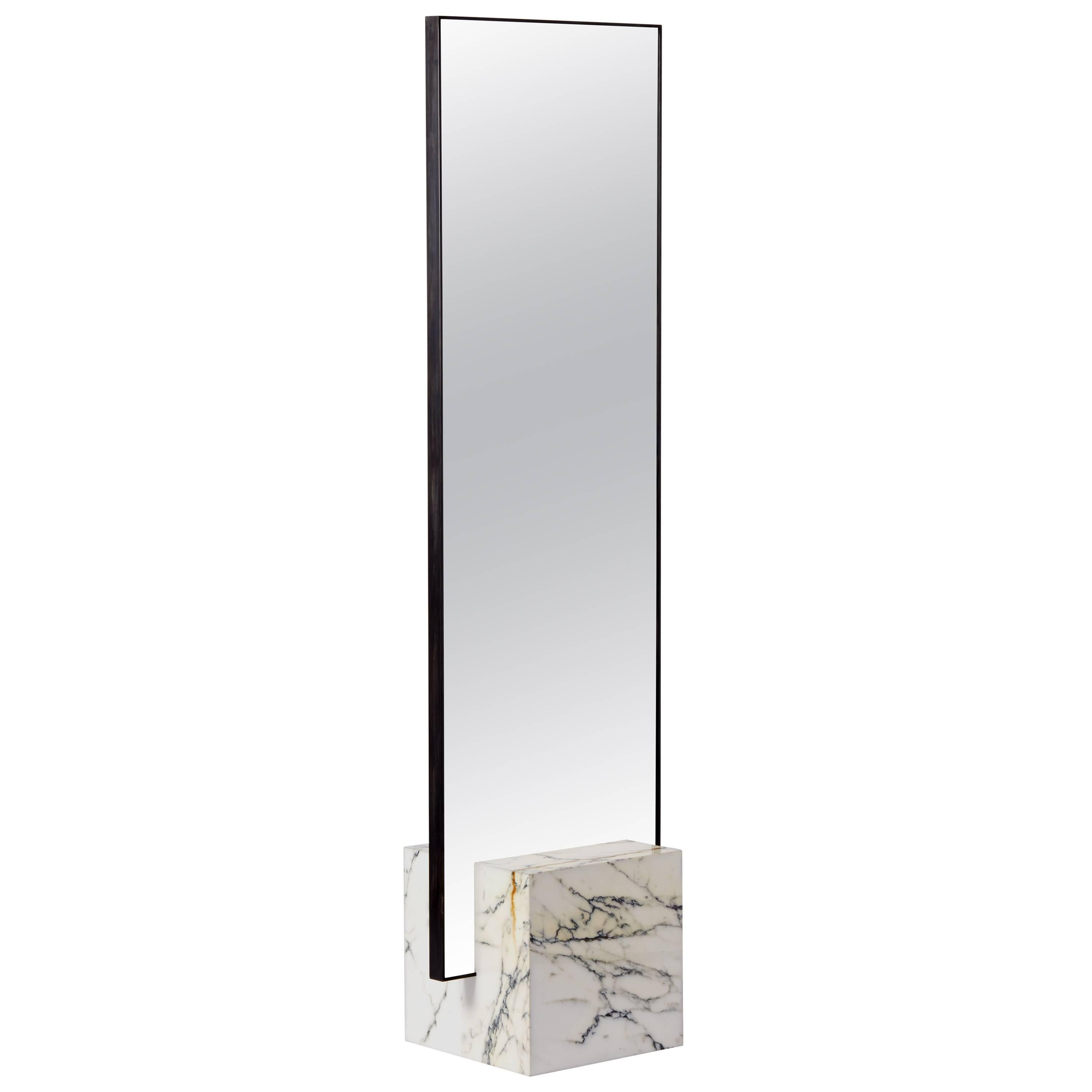 Standing Mirror Coexist Slash Standing Mirror With Marble Concrete Rubber And Black Steel Frame