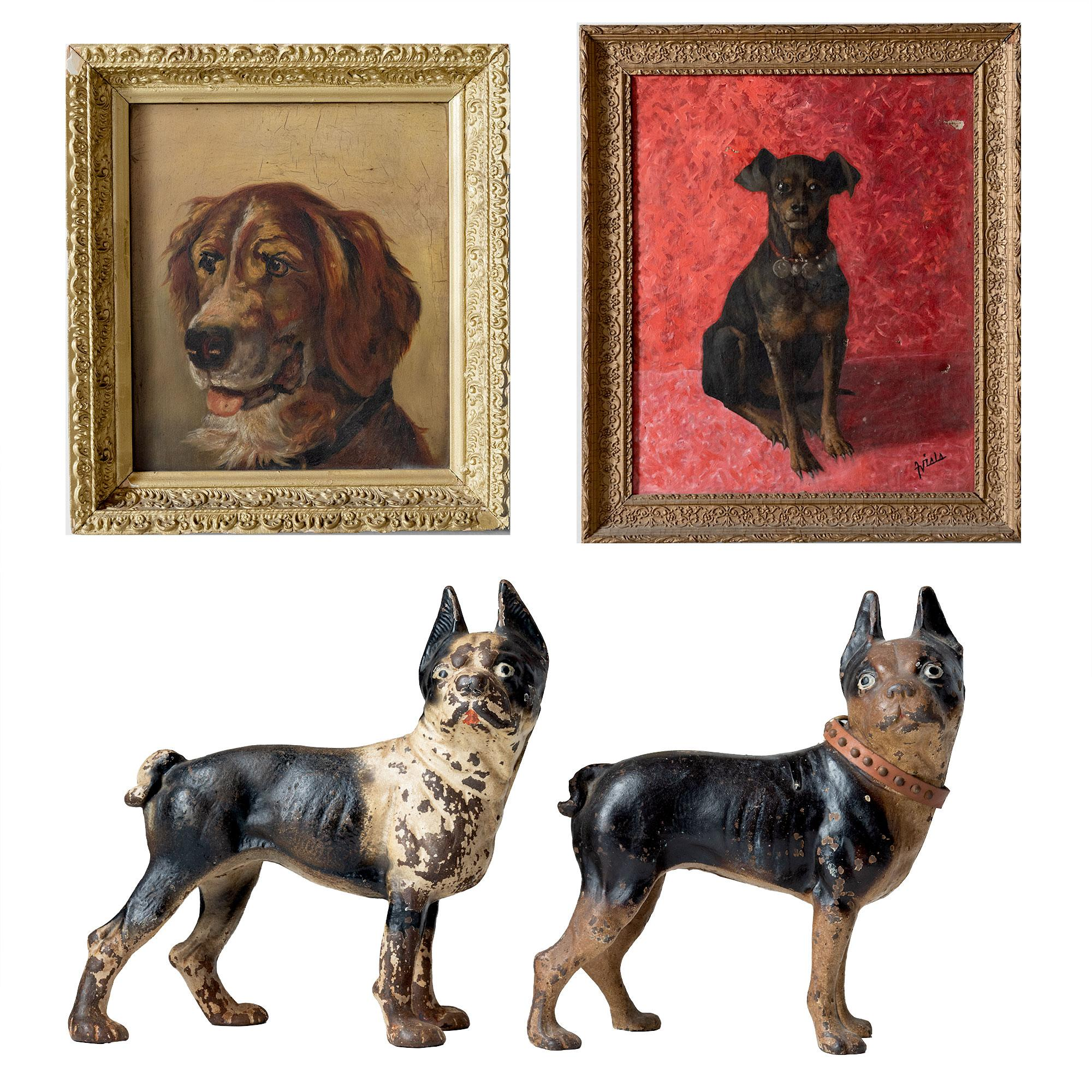 Animal Door Stops Uk Collection Of Dog Oil Paintings And Cast Iron Door Stops Circa 1880 1960
