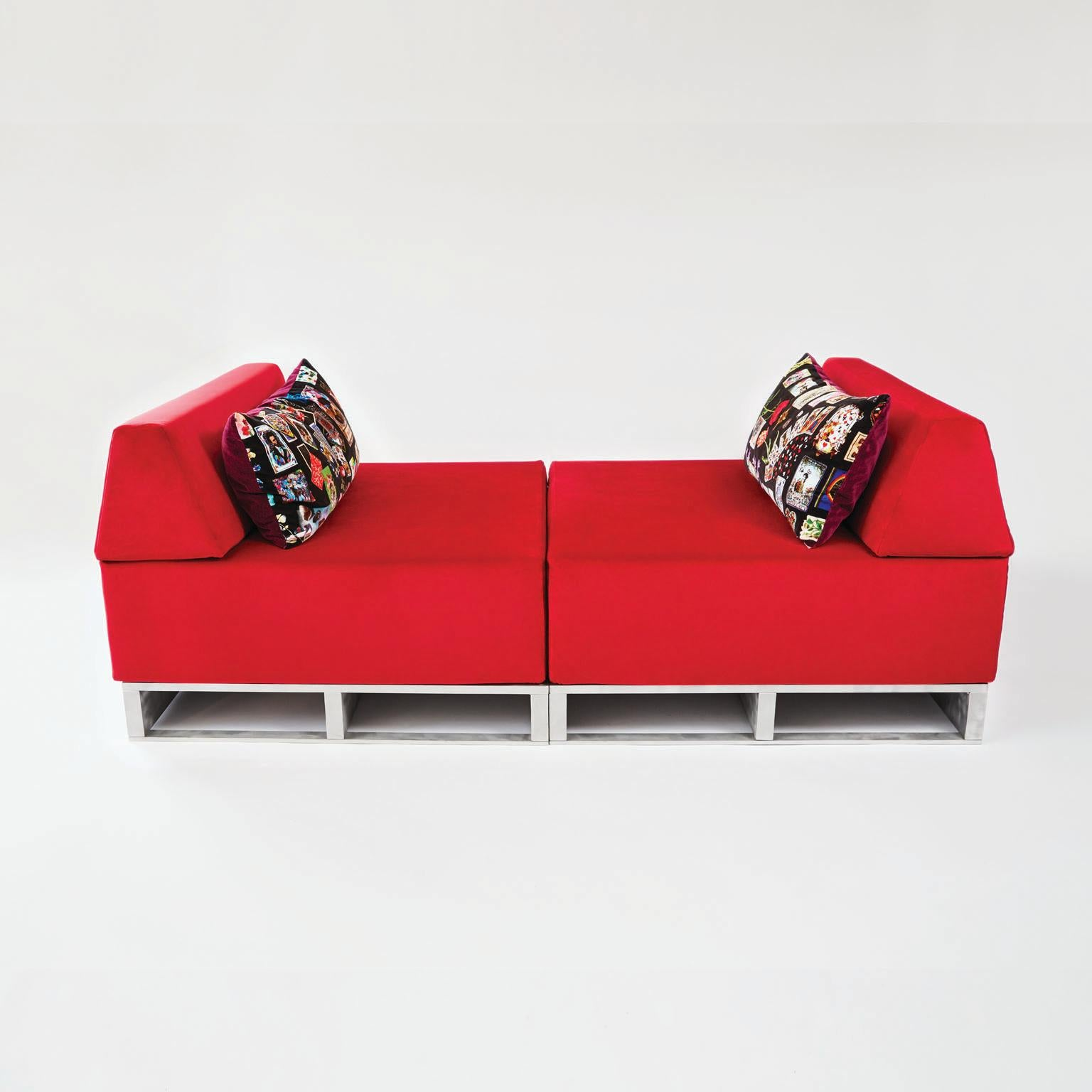 Horst Brüning Contemporary Modular Sofa Indoor/outdoor In Red Fabric On