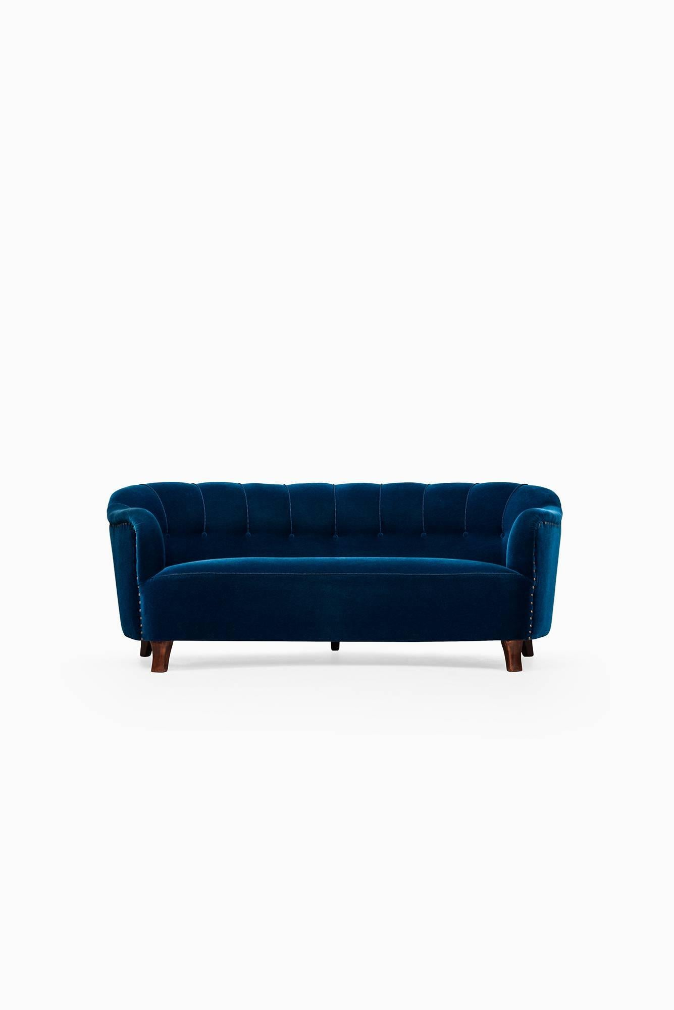 Otto Sale Sofa Curved Sofa In Blue Velvet Attributed To Otto Schulz
