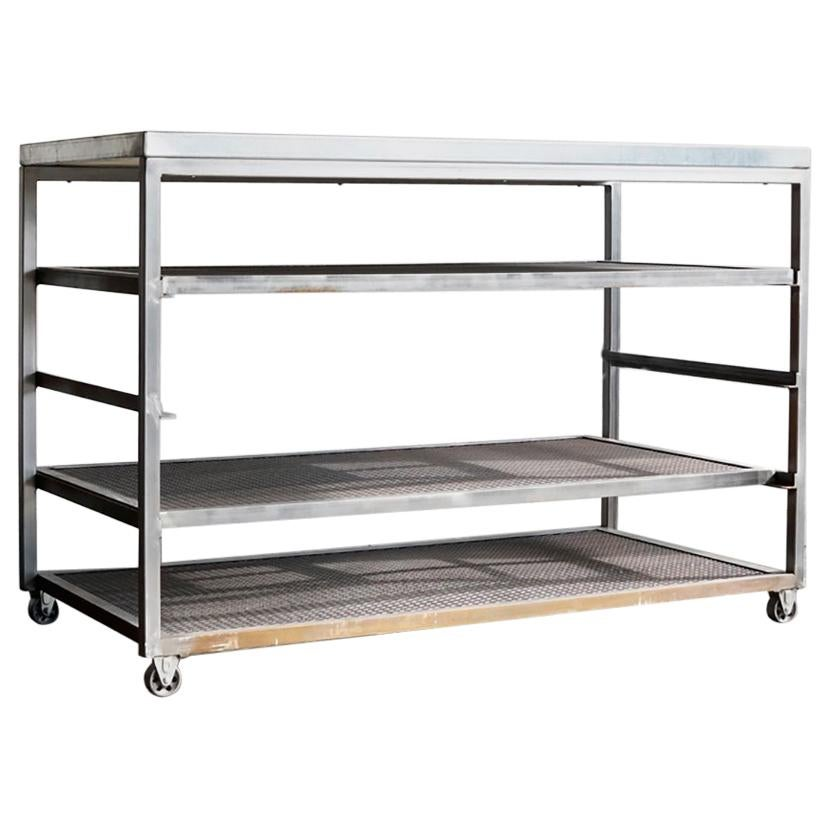 Mesh Shelving Custom Steel Rolling Rack With Expanded Metal Shelves