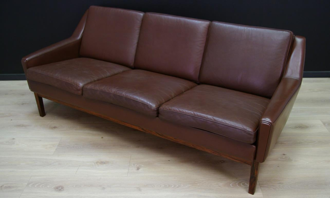Retro Sofa Wood Danish Design Vintage Sofa Retro Leather