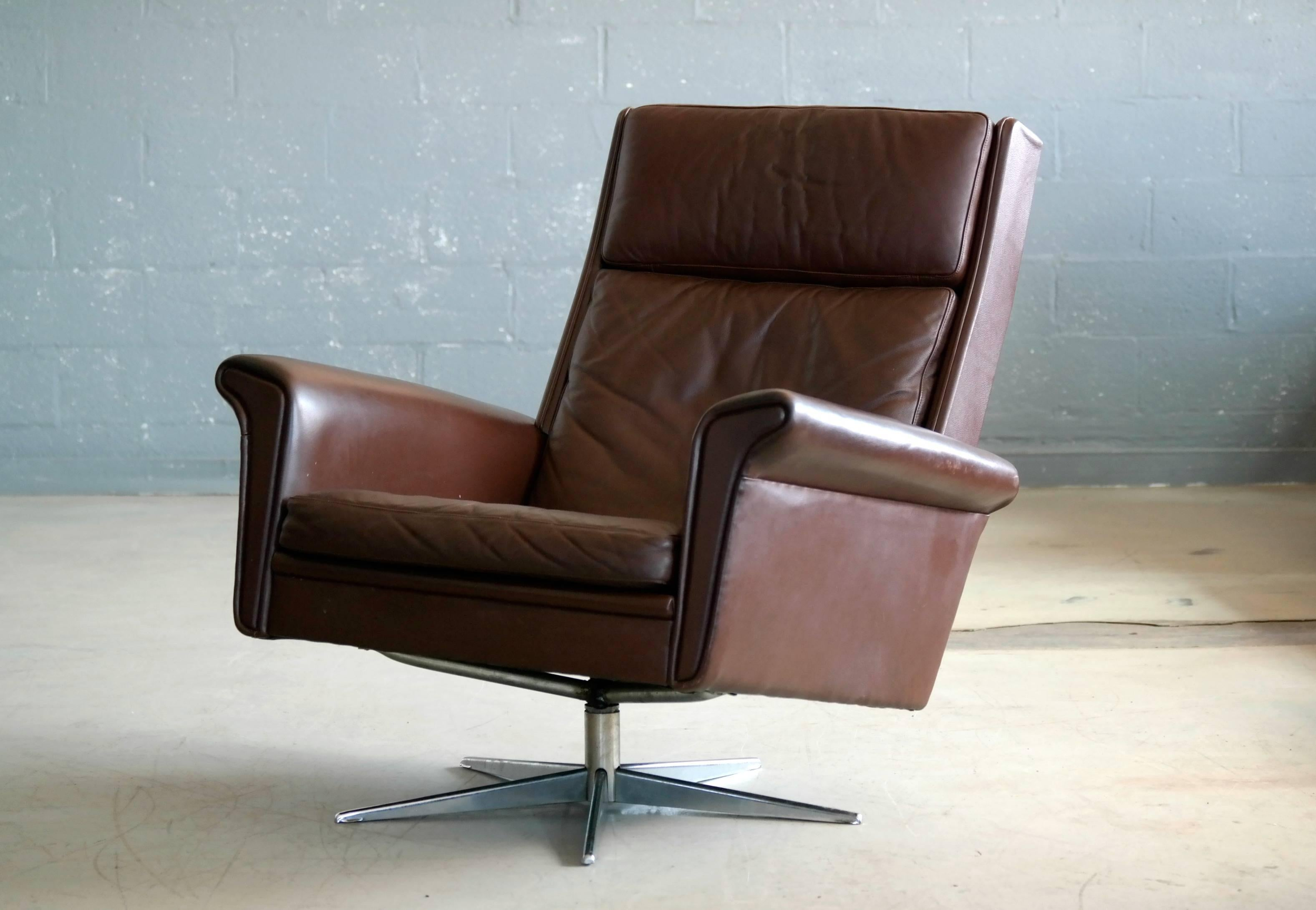 Danish High Back Swivel Lounge Chair In Chocolate Leather - Leather High Back Lounge Chair