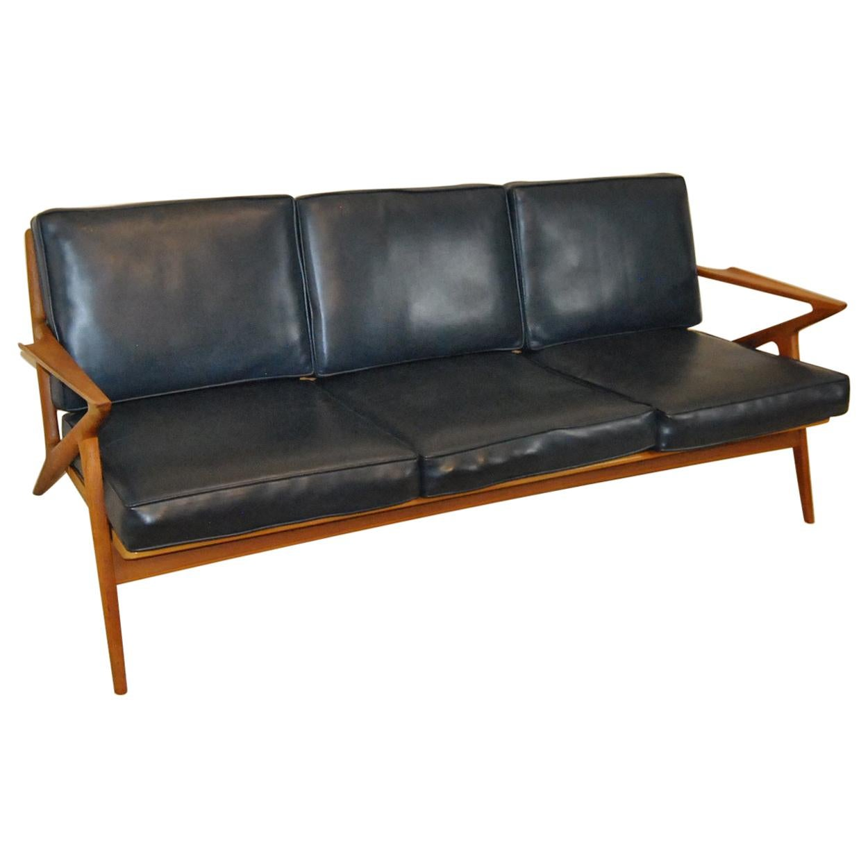 Jensen Sofa Bed Next Danish Mid Century Modern Teak Three Cushion Z Sofa By Poul Jensen For Selig