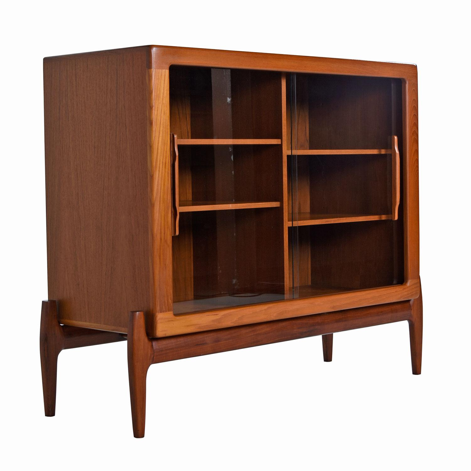 Bookcase Cabinet Danish Modern Sliding Glass Door Hutch Cabinet Bookcase With Carved Teak Pulls