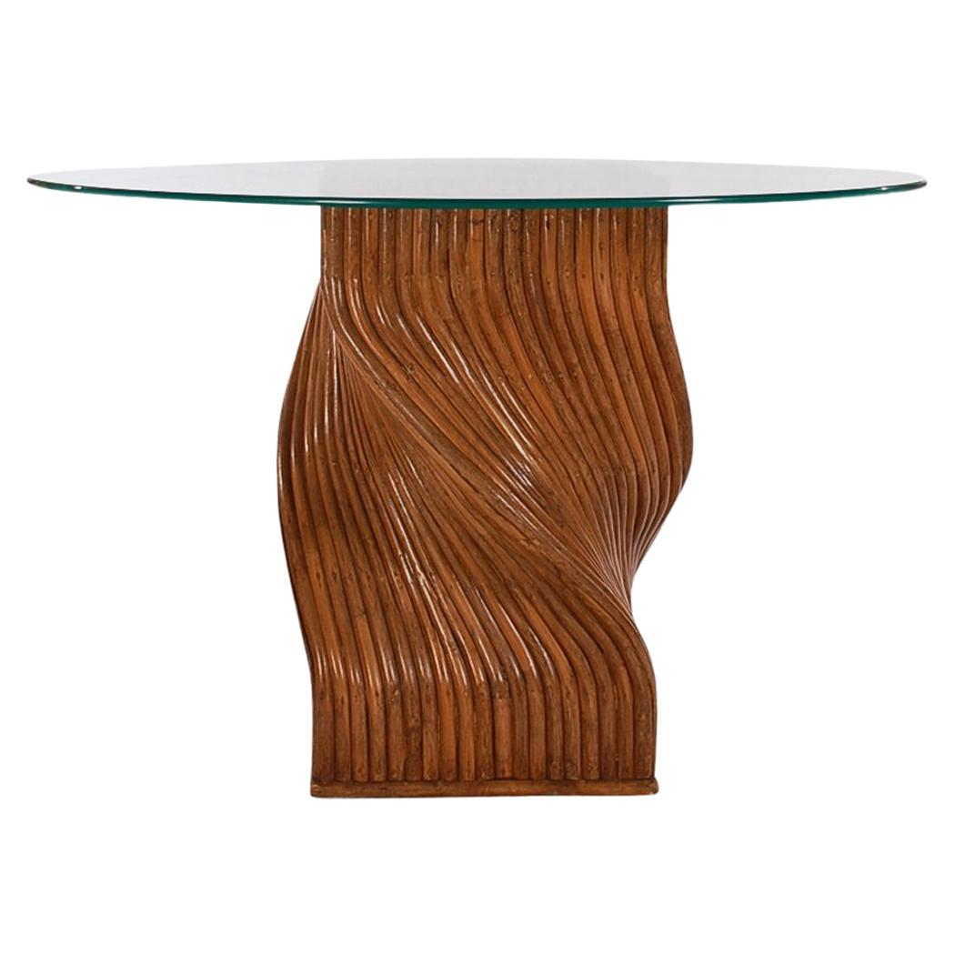 Modern Round Glass Dining Table Walnut Stained Mid Century Modern Dark Bamboo Spiral Round Glass Dining Table