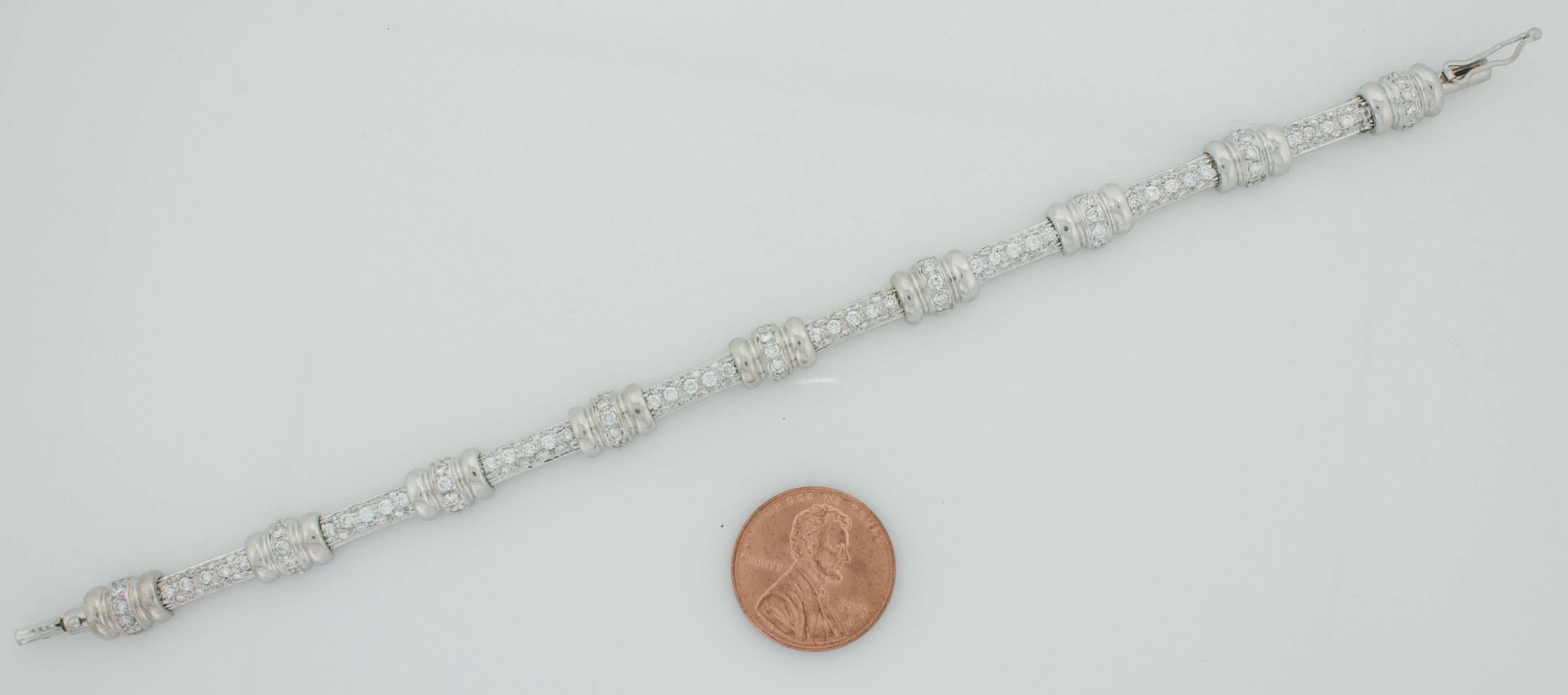 Diamond Tennis Style Bracelet In 14 Karat White Gold For