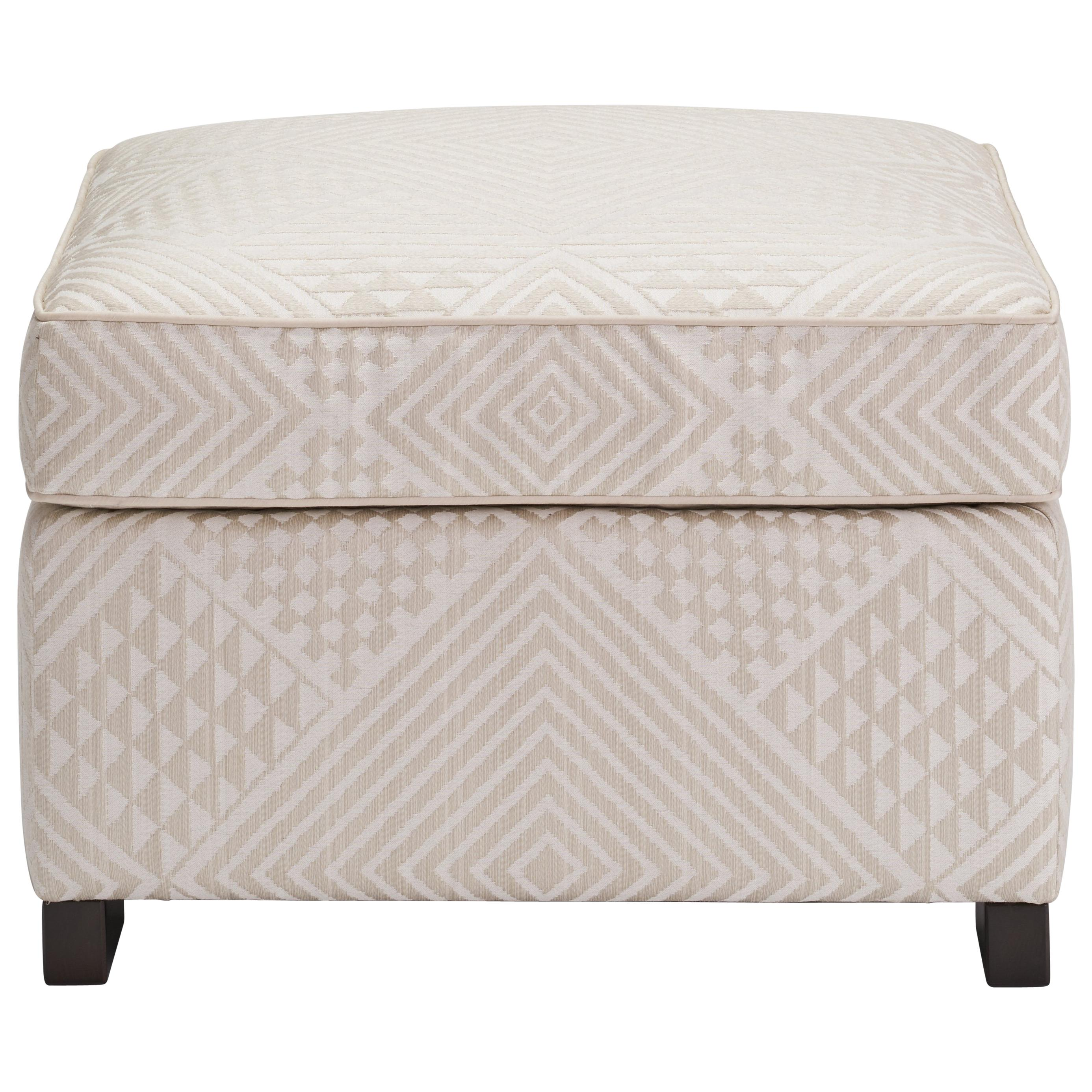 Ottoman Upholstery Donghia Woodbridge Ottoman In Cream Cotton Upholstery With Geometric Pattern