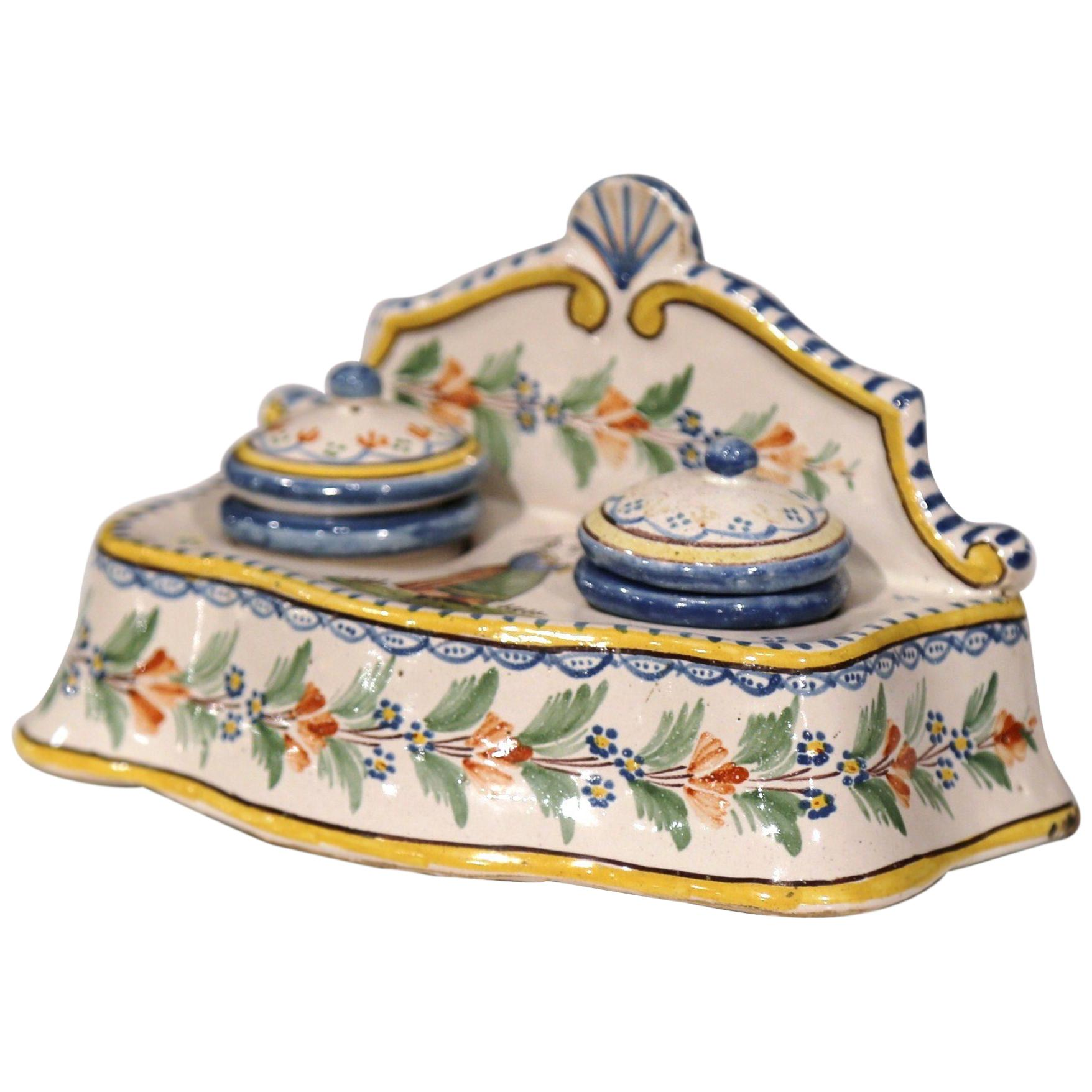Deco Quimper Early 20th Century French Hand Painted Faience Inkwell Signed Hr Quimper