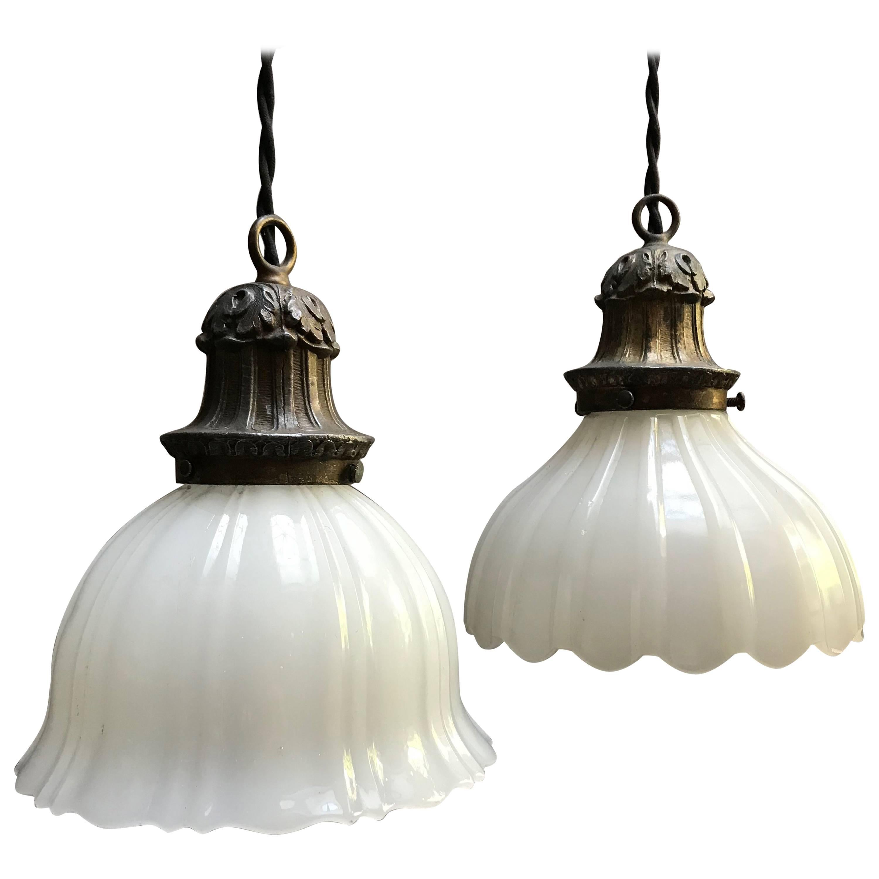 Pendant Lighting Early 20th Century Scalloped Milk Glass Pendant Lights