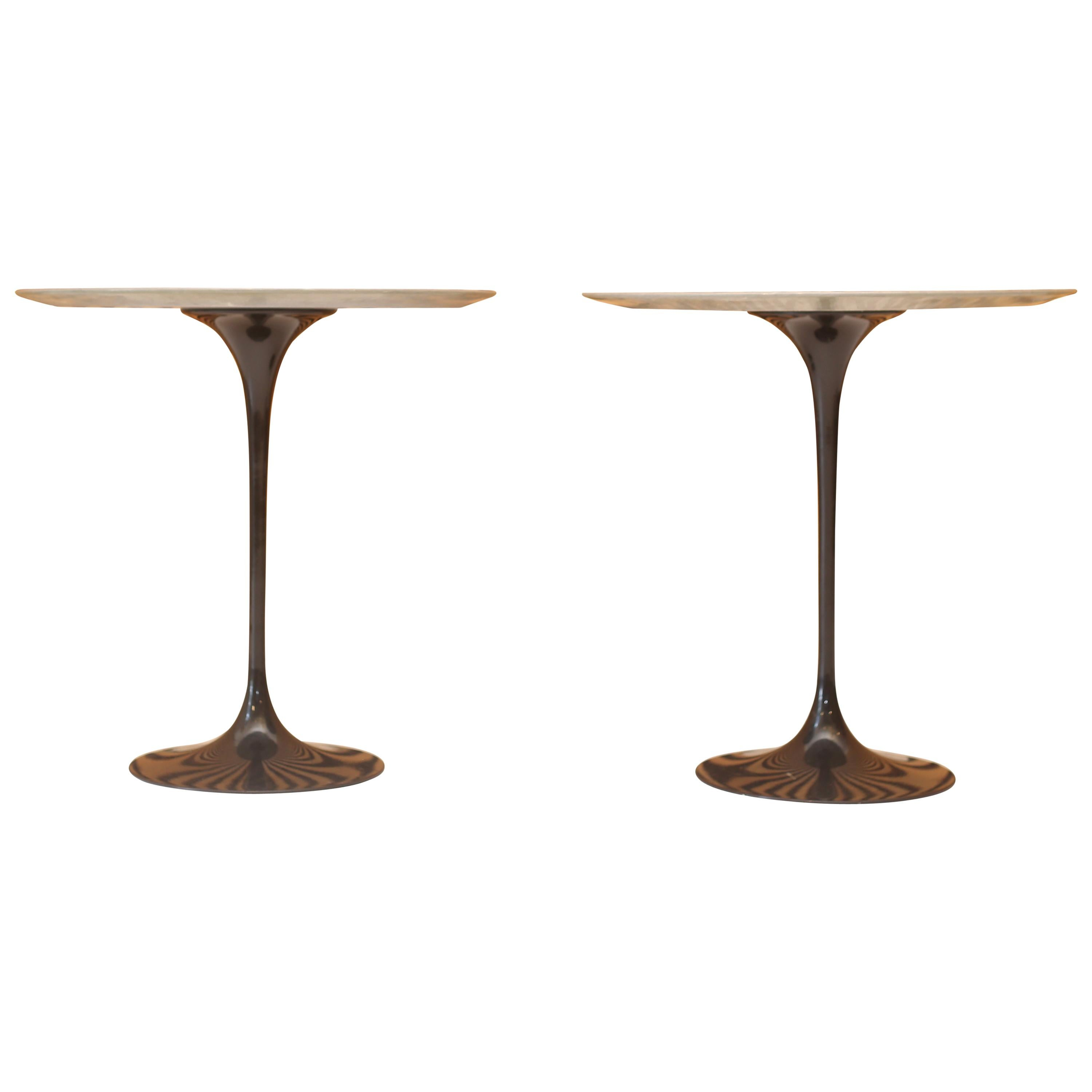 Tables Knoll Eero Saarinen For Knoll Gray Marble Tulip Side Tables