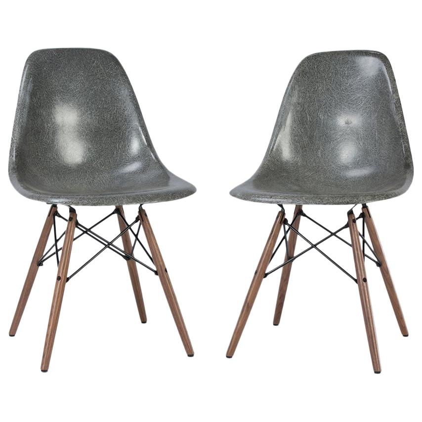 Eames Dsw Elephant Grey Pair Of 2 Herman Miller Eames Dsw Side Shell Chairs