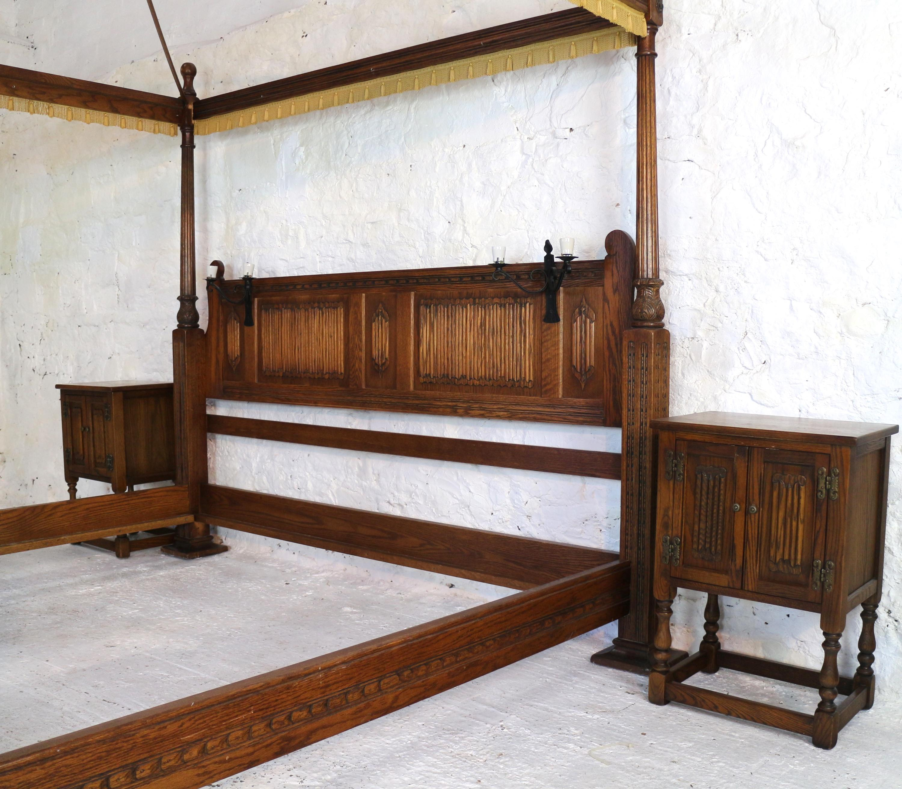Emperor Bed English Gothic Tudor Style Oak Four Poster Emperor Size Bed