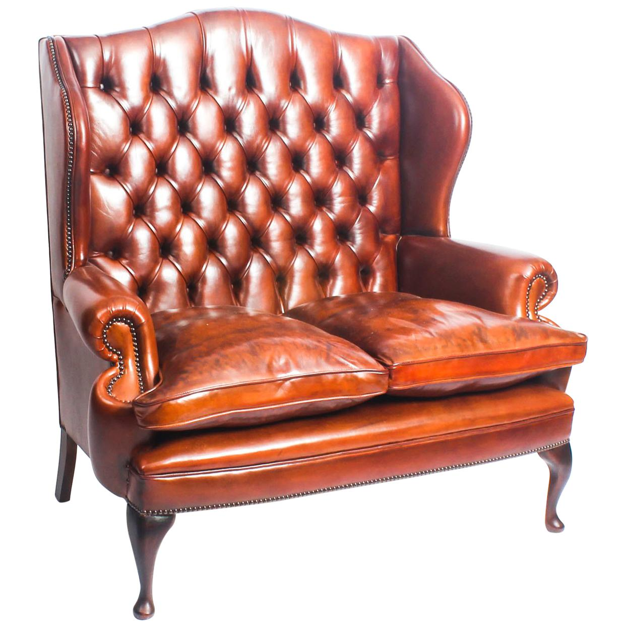 Sofa Queen Anne Bespoke English Leather Queen Anne Club Settee Sofa Burnt Amber