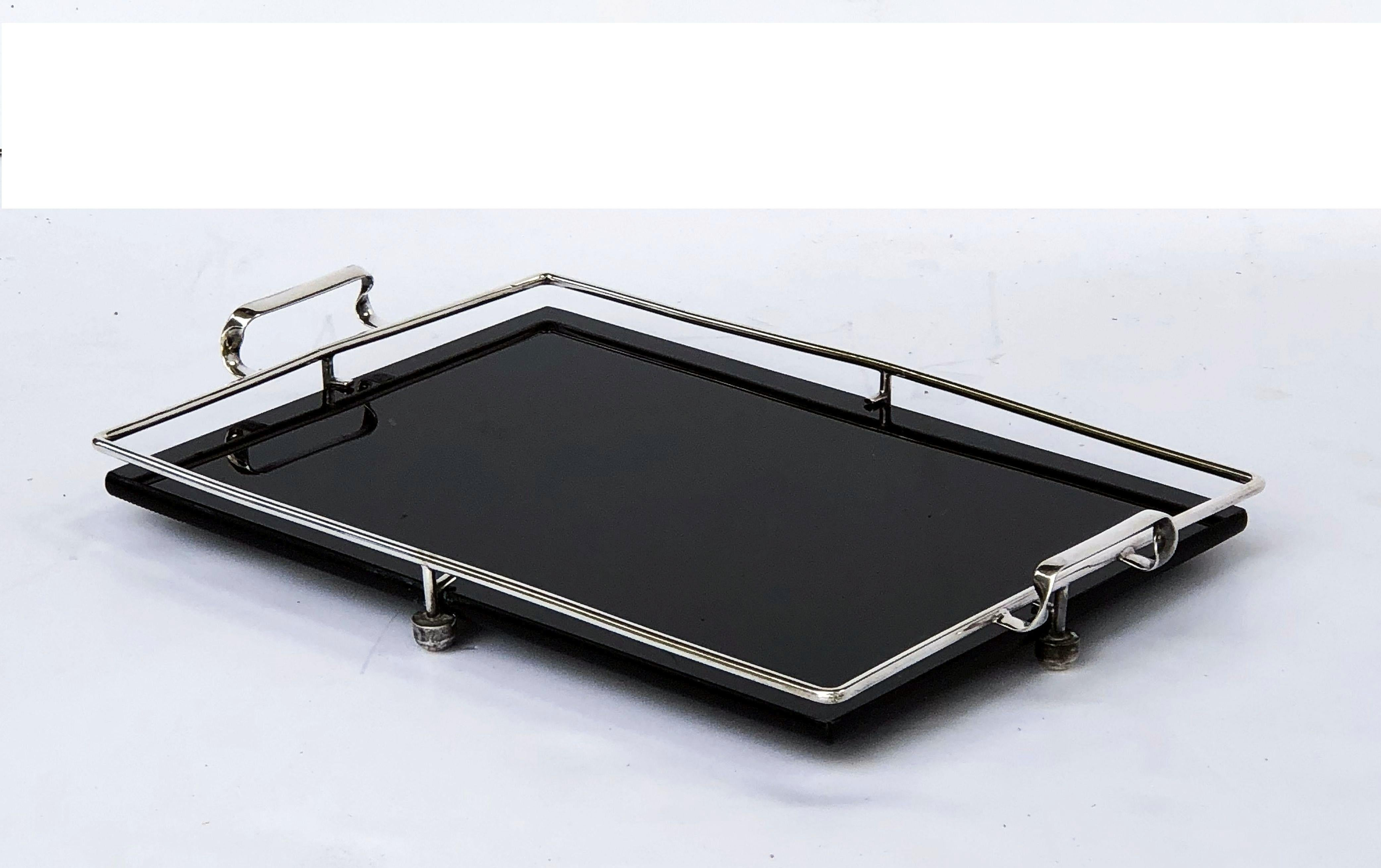 Black Serving Tray English Serving Tray Of Black Glass And Chrome From The Art Deco Period