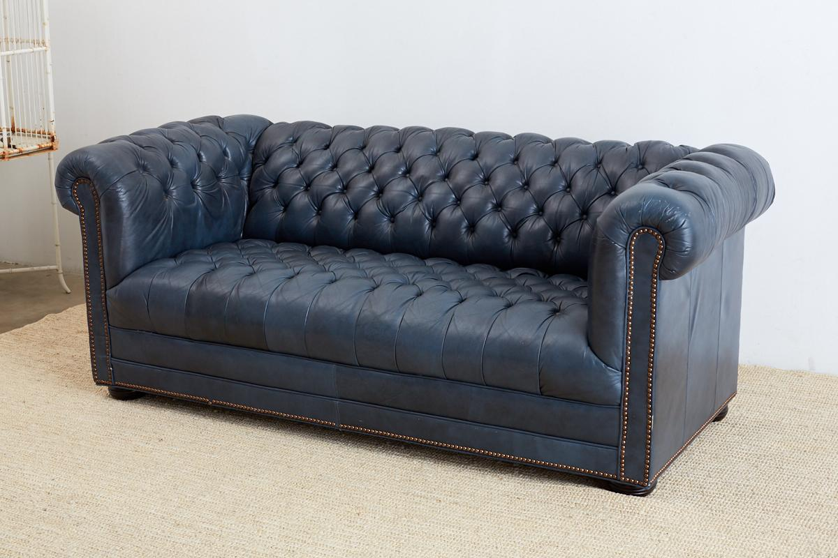 Chesterfield Sofa Navy English Tufted Navy Blue Chesterfield Sofa At 1stdibs