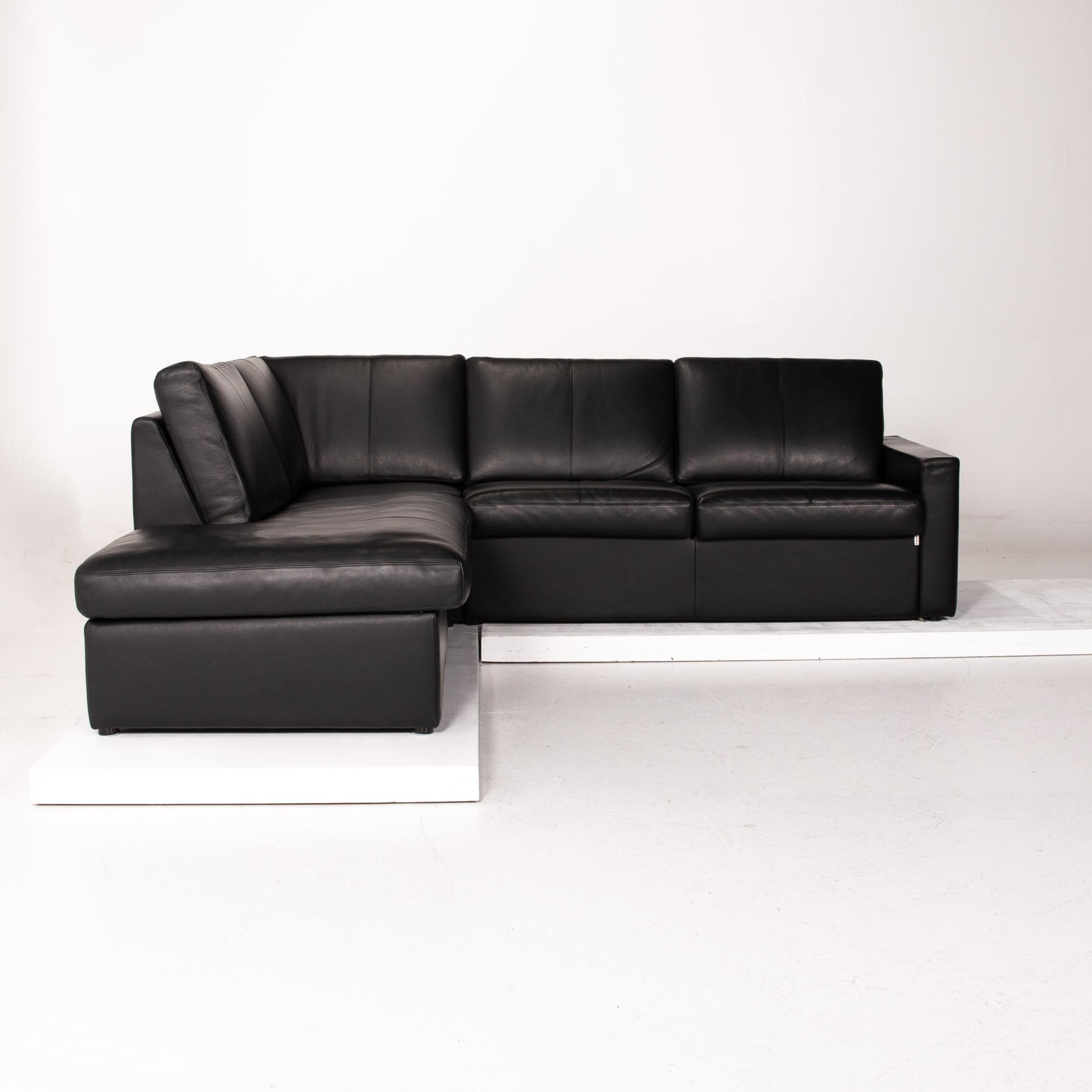 Erpo Cl 150 Leather Corner Sofa Black Function Sofa Couch For Sale At 1stdibs