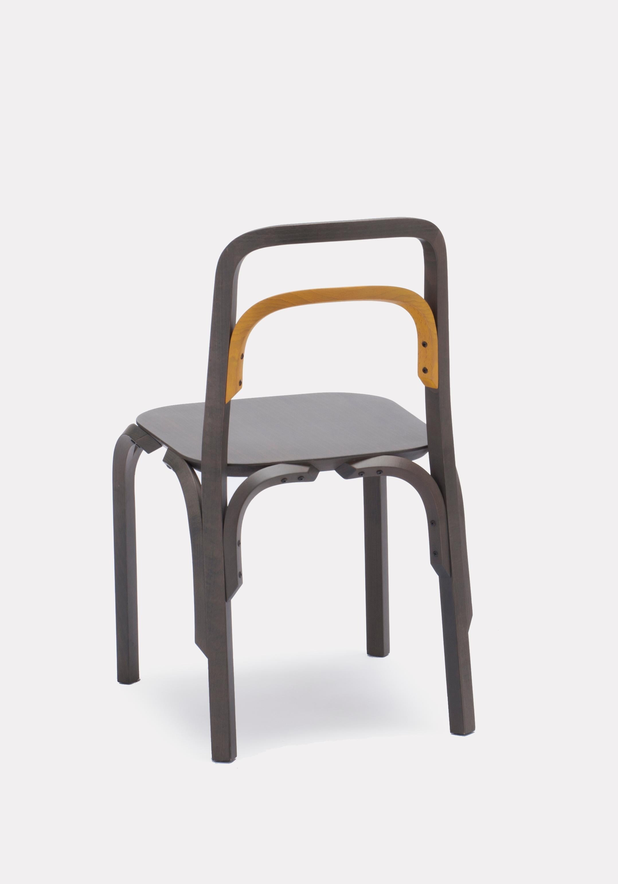Chair Sessel Established Sons Sessel Chair In Gray Beech With Yellow Back By Martino Gamper