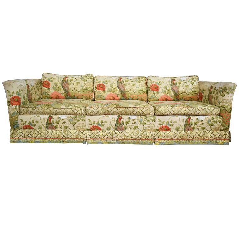 Sofa With Foam Seats Ethan Allen Floral Chinoiserie Down Filled Peacock Sofa With Low Back Deep Seats