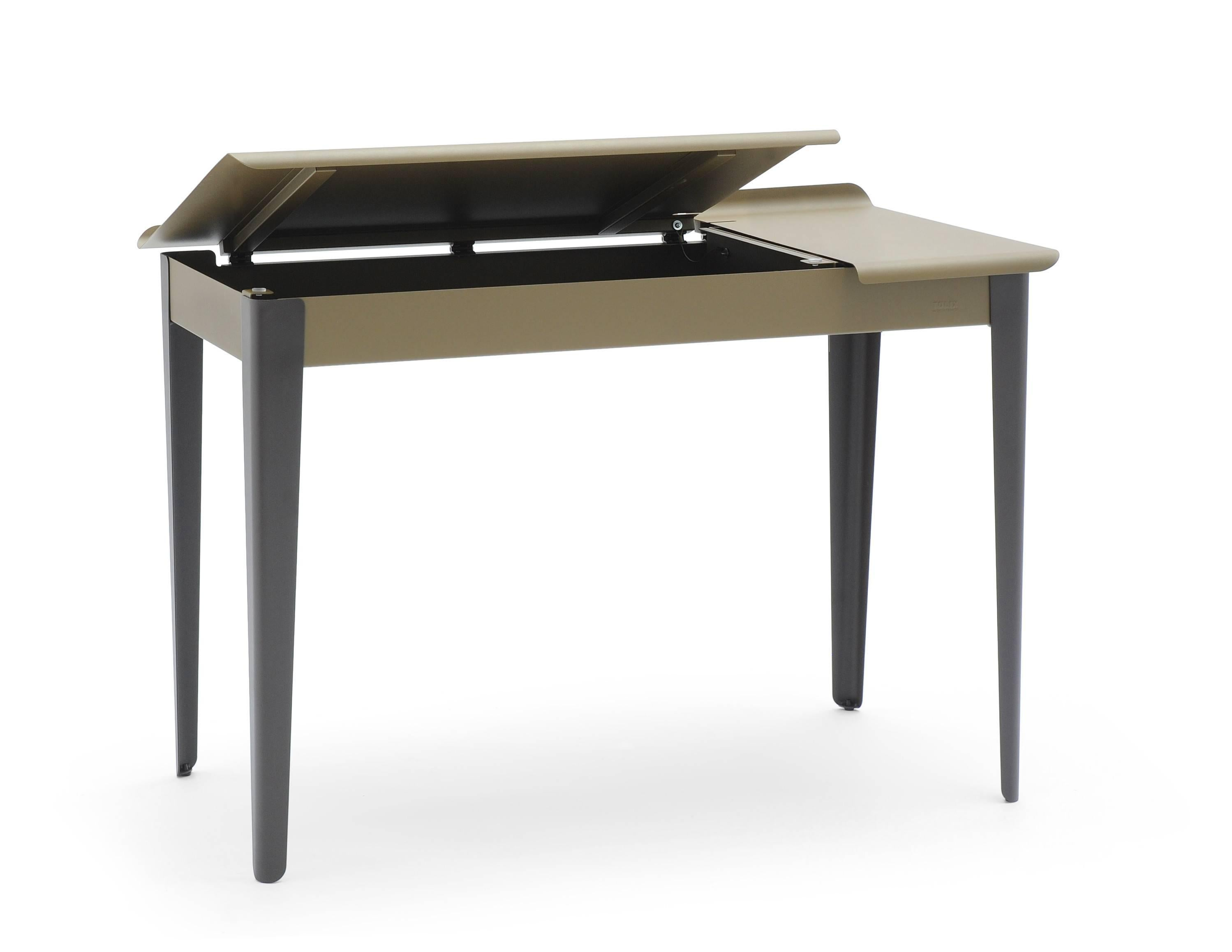 Bureau Tolix Flap Desk In Khaki Midnight Blue Matte By Tolix
