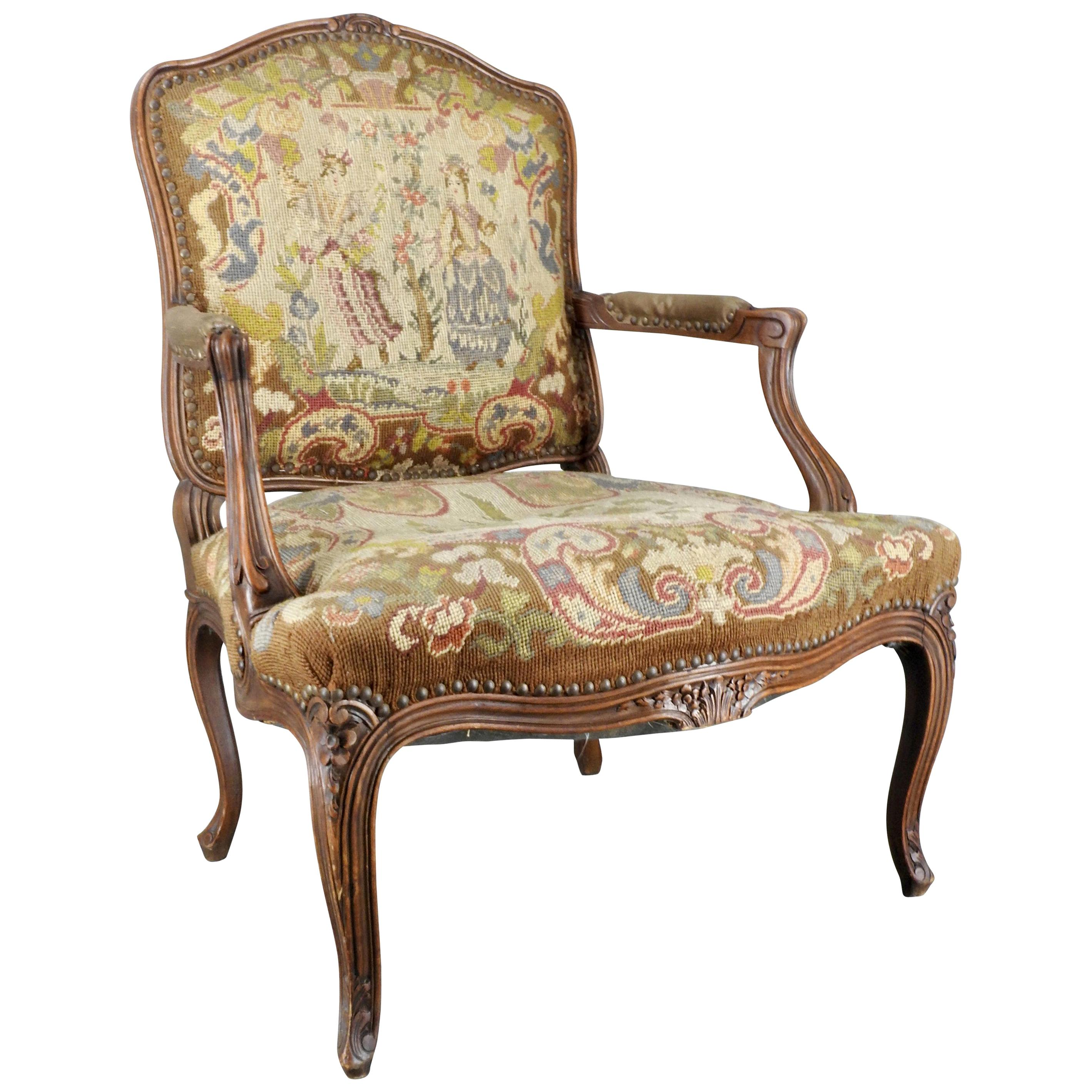 French Rococo Fauteuil With Needlepoint Upholstery For Sale At 1stdibs