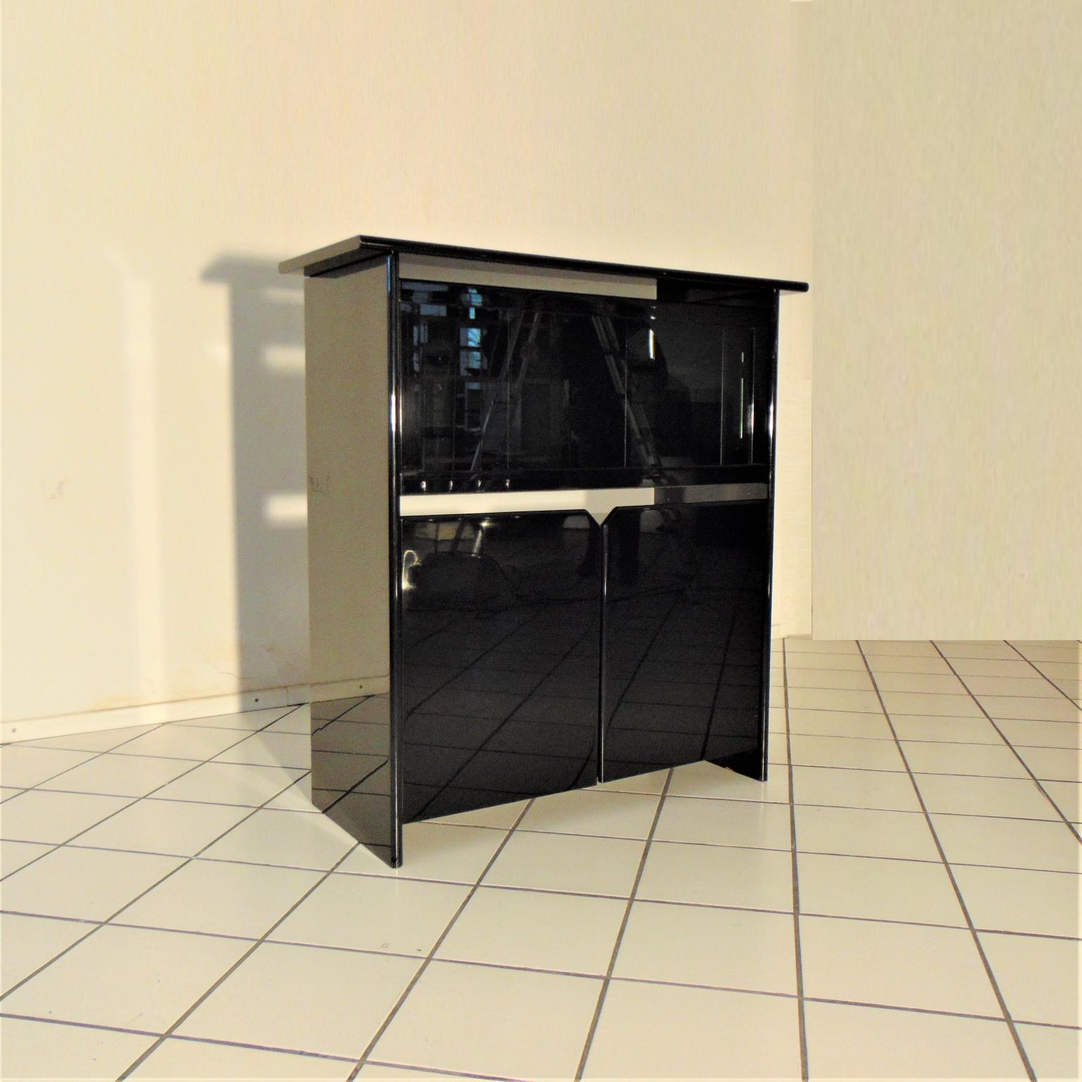 Vitrine Highboard Glossy Black Lacquer Highboard With Vitrine By Luigi Sormani Italy 1985