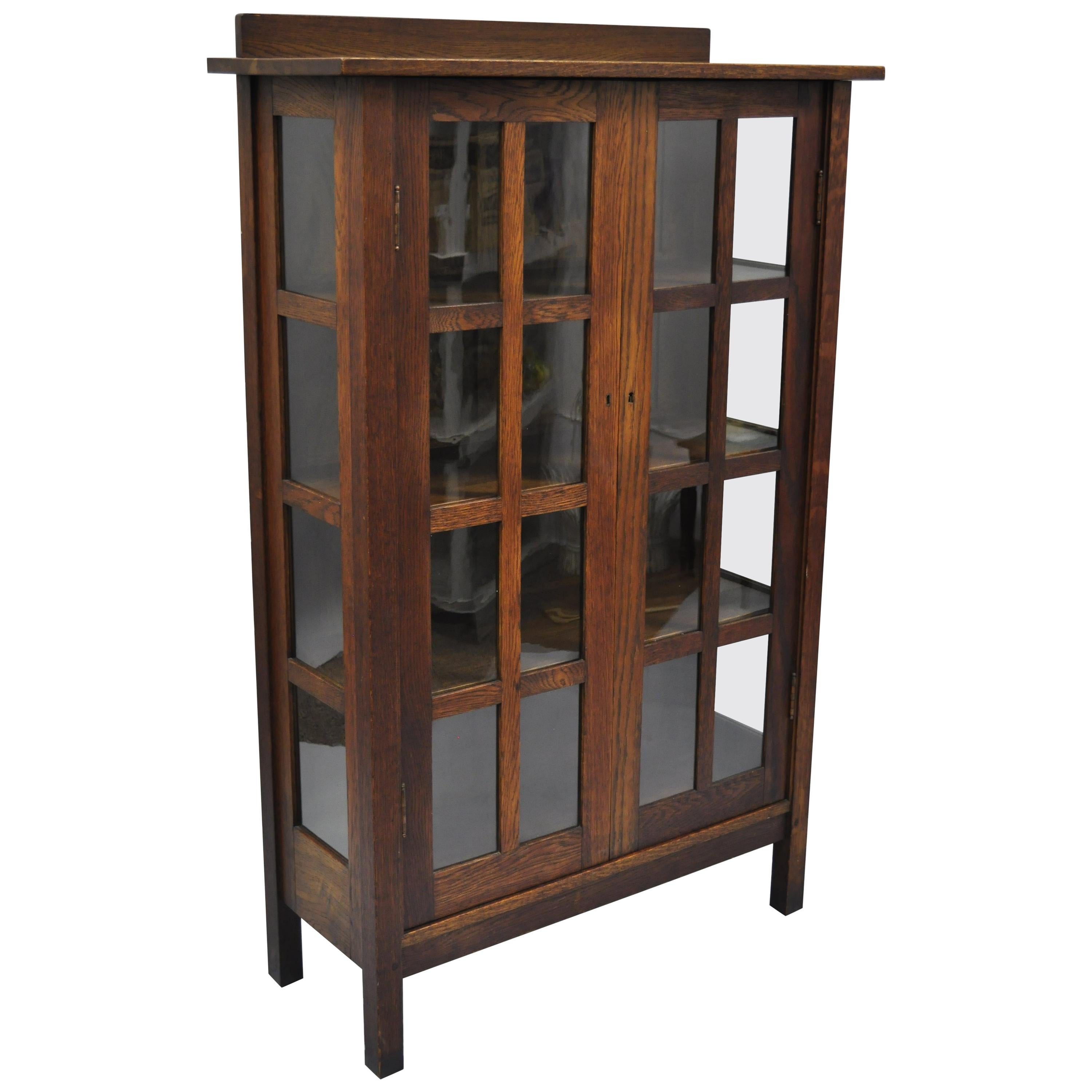 Bookcase Cabinet Gustav Stickley Mission Arts Crafts Oak Glass Door China Cabinet Curio Bookcase