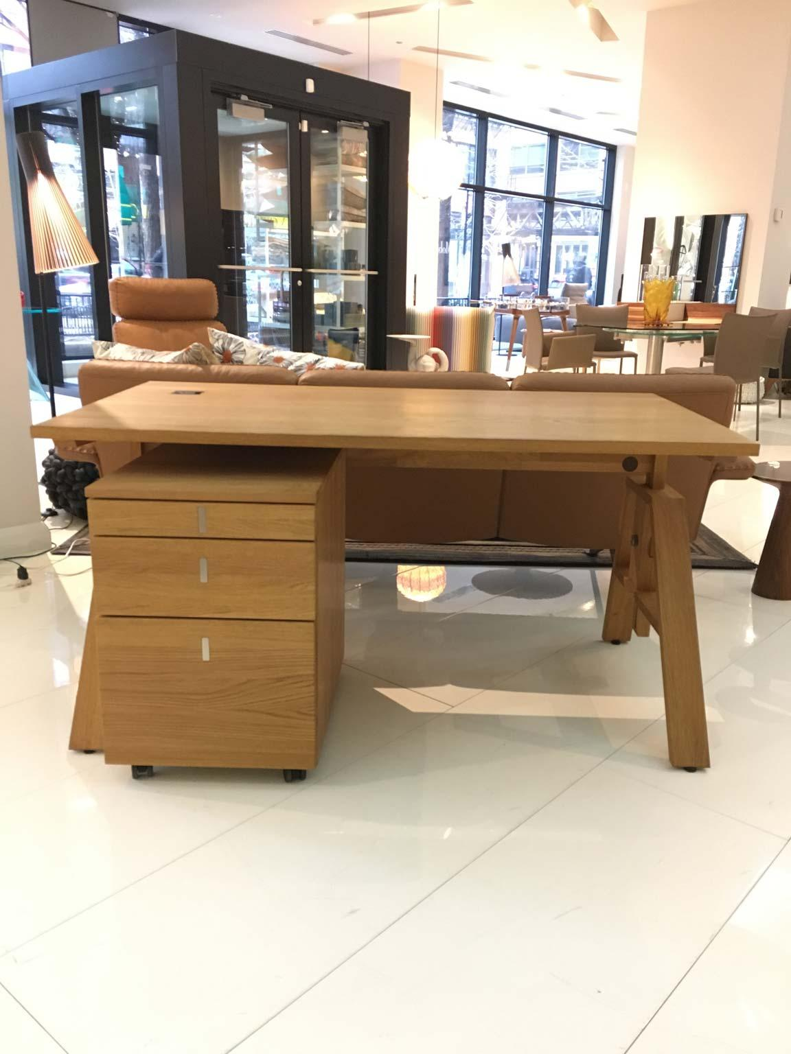 Desk With File Cabinet Height Adjusting Desk And File Cabinet With Four Drawers In Solid Oak