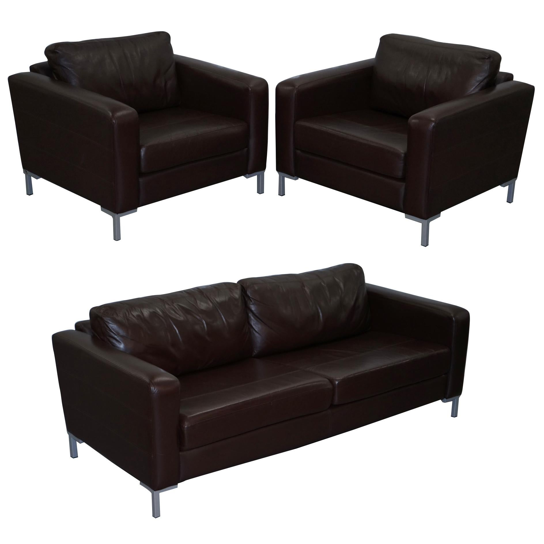 John Lewis Sofa Upholstery John Lewis Siren Aniline Brown Leather Suite Pair Armchairs Three Seat Sofa