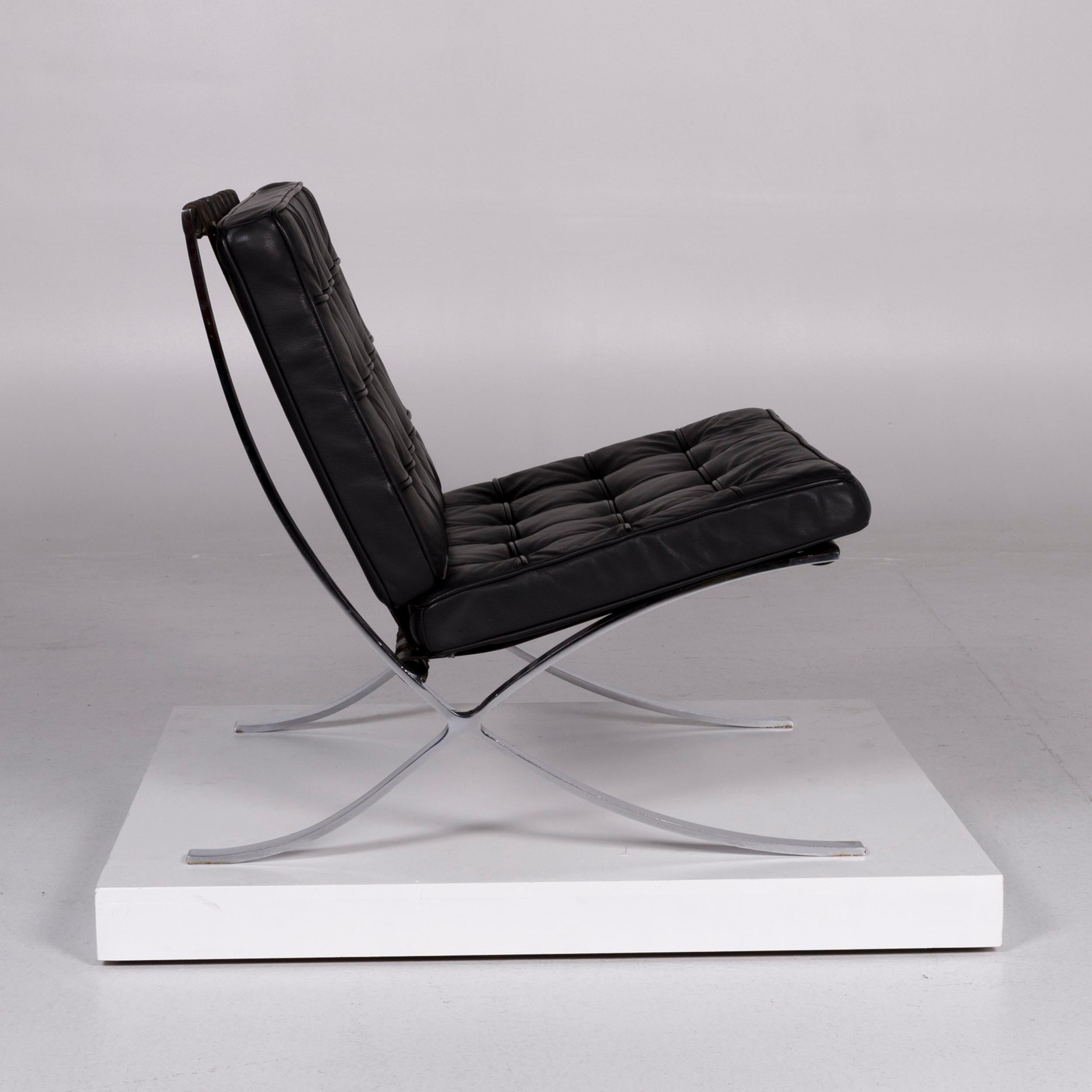 Knoll International Barcelona Chair Vintage Designer Leather Armchair Black At 1stdibs