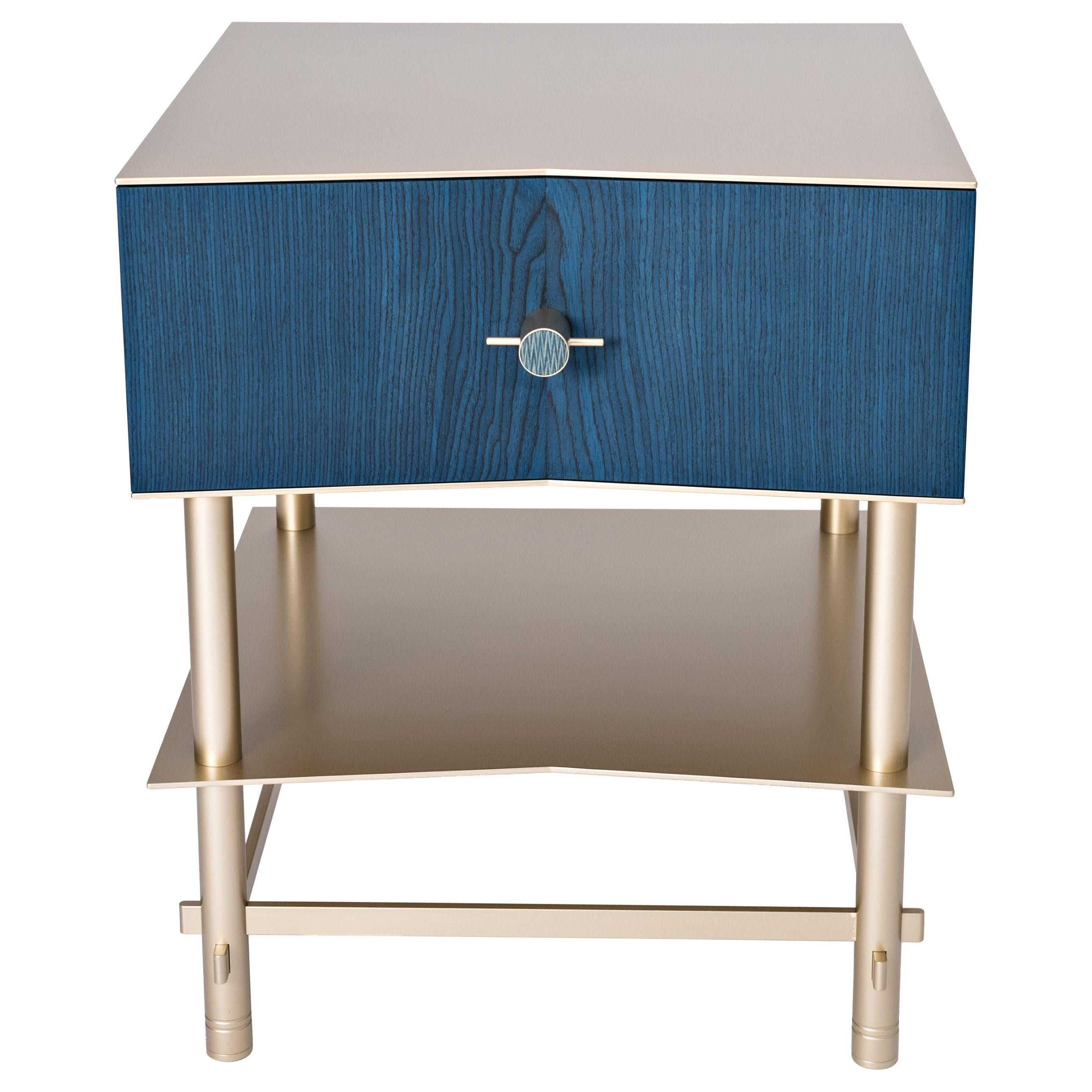 Lali Luxury Coffee Bed Side Table Metal Structure Jewel Handles And Wooden Drawer For Sale At 1stdibs