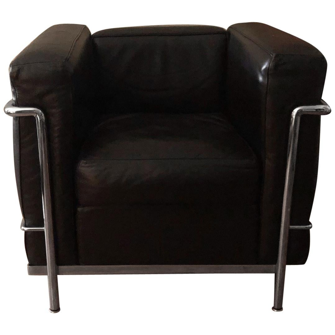 Leather Lounge Le Corbusier Lc2 Black Leather Lounge Chairs By Cassina