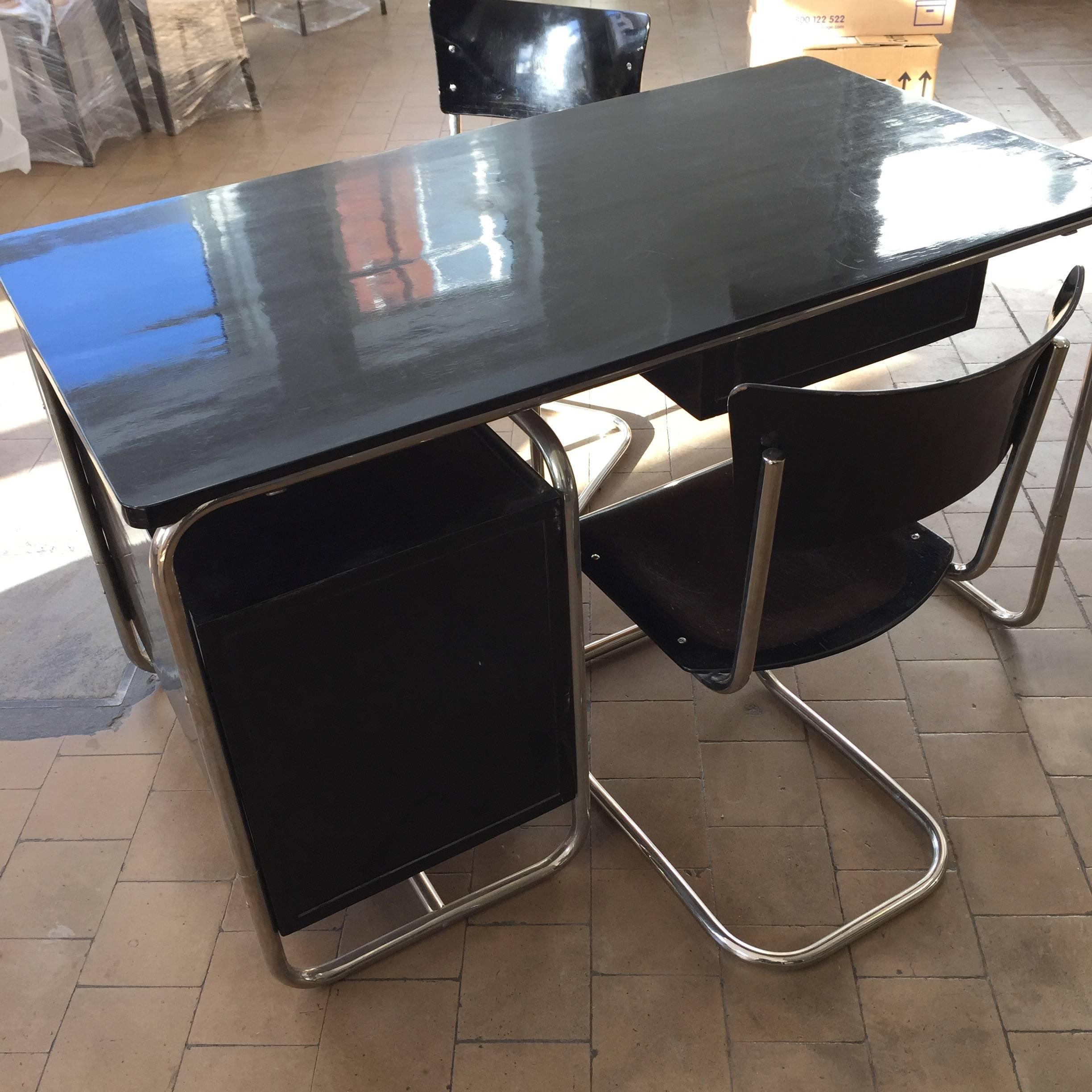 Bauhaus Paravent Marcel Breuer Bauhaus Writing Desk With Two Chairs Black Lacquered