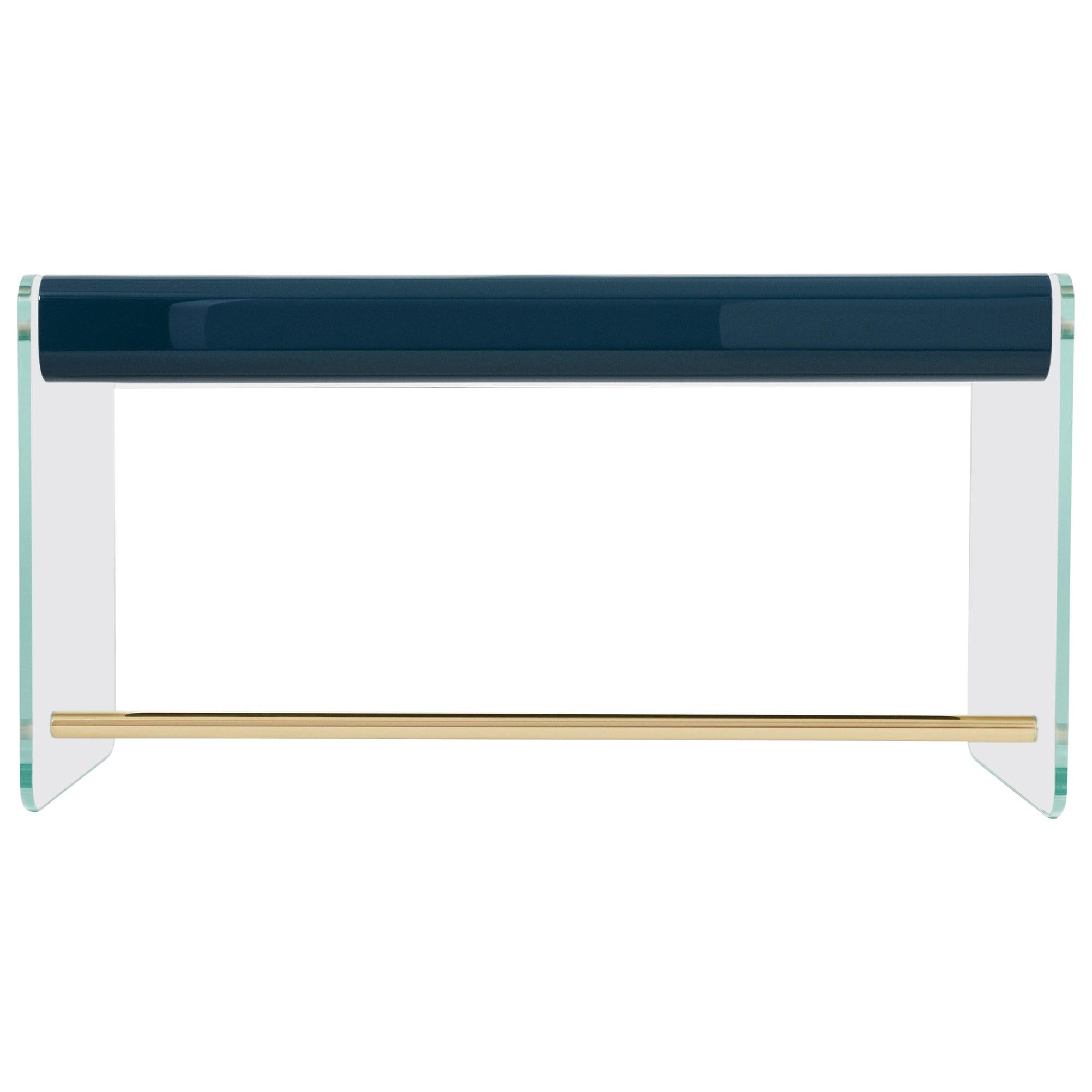 Table Bureau Bureau Marcello In Glass Gloss Lacquer And Brass With Velvet And Ebony Drawers