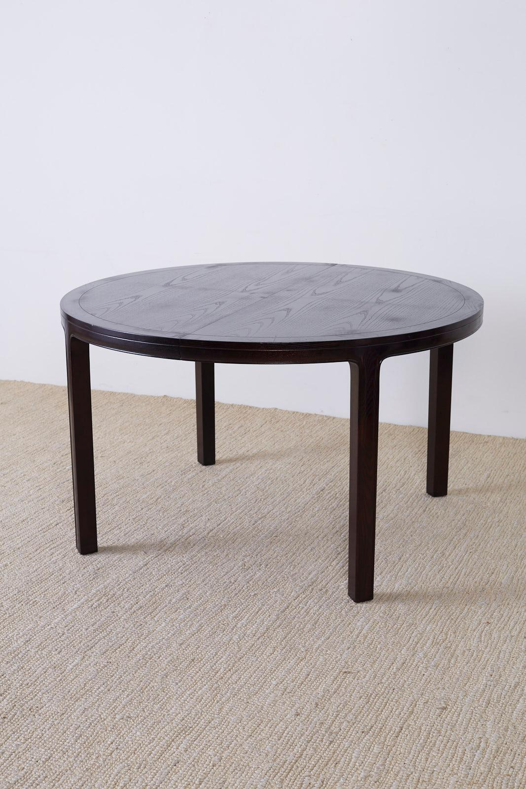 Round Timber Dining Table Mcguire Asian Style Ebonized Hardwood Extending Dining Table