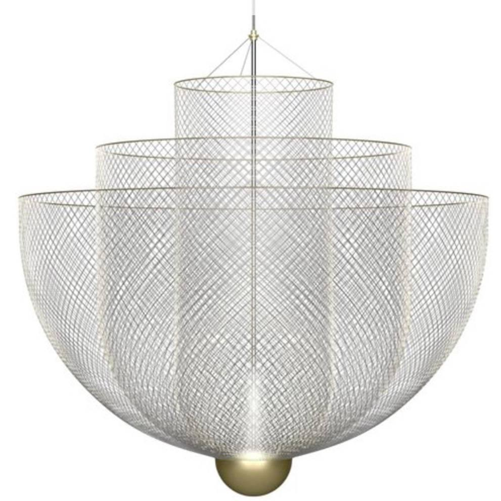 Led Chandelier Meshmatics Dimmable Led Chandelier In Galvanized Steel And Brass For Moooi