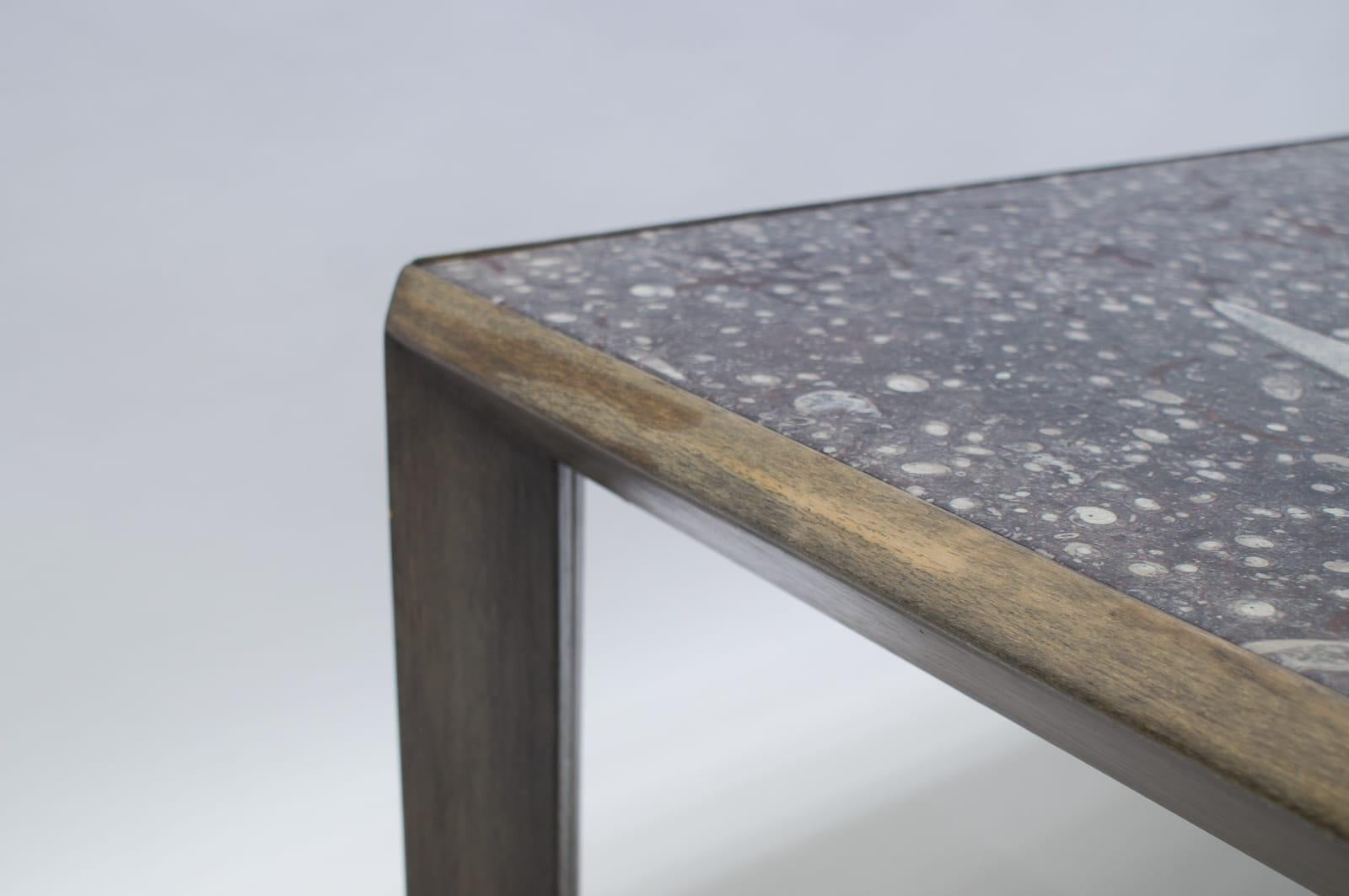 Midcentury Coffee Table By Ronald Schmitt With Fossil Tabletop 1960s Germany For Sale At 1stdibs