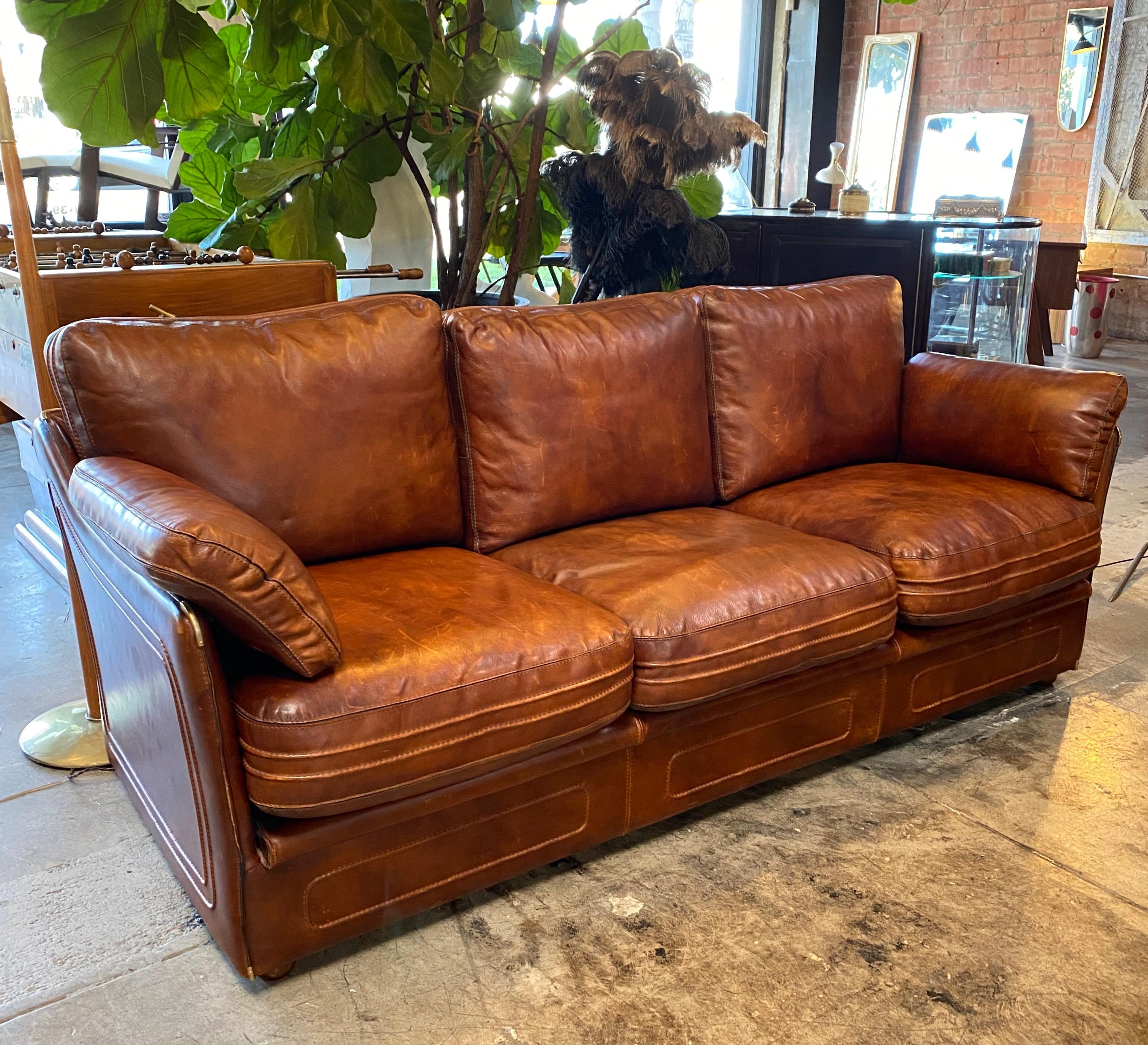 Mid Century Modern Italian Leather Sofa 1960s For Sale At 1stdibs