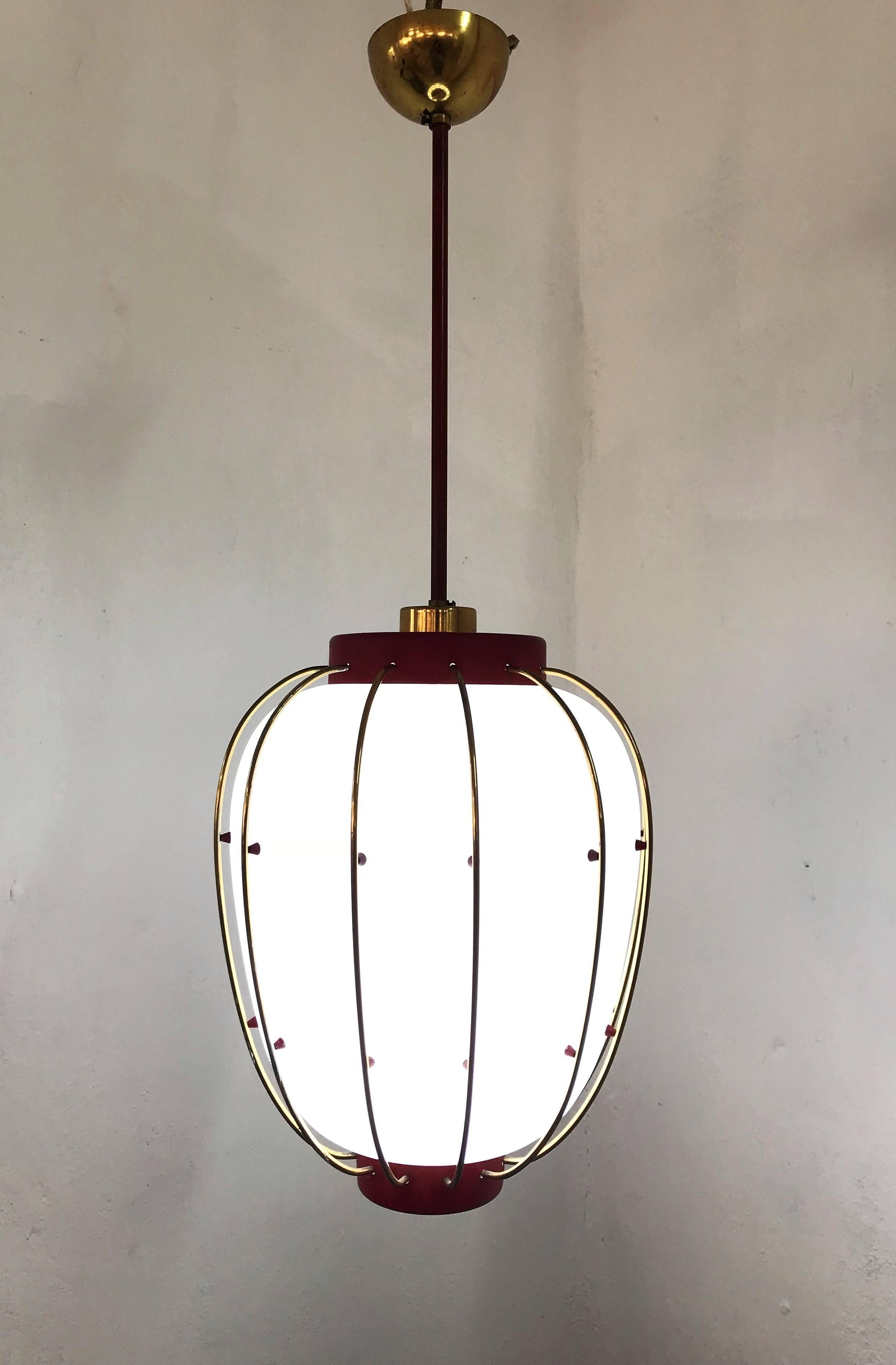 Moderne Laterne Mid-century Modern Lantern In Brass And Opaline Glass ...