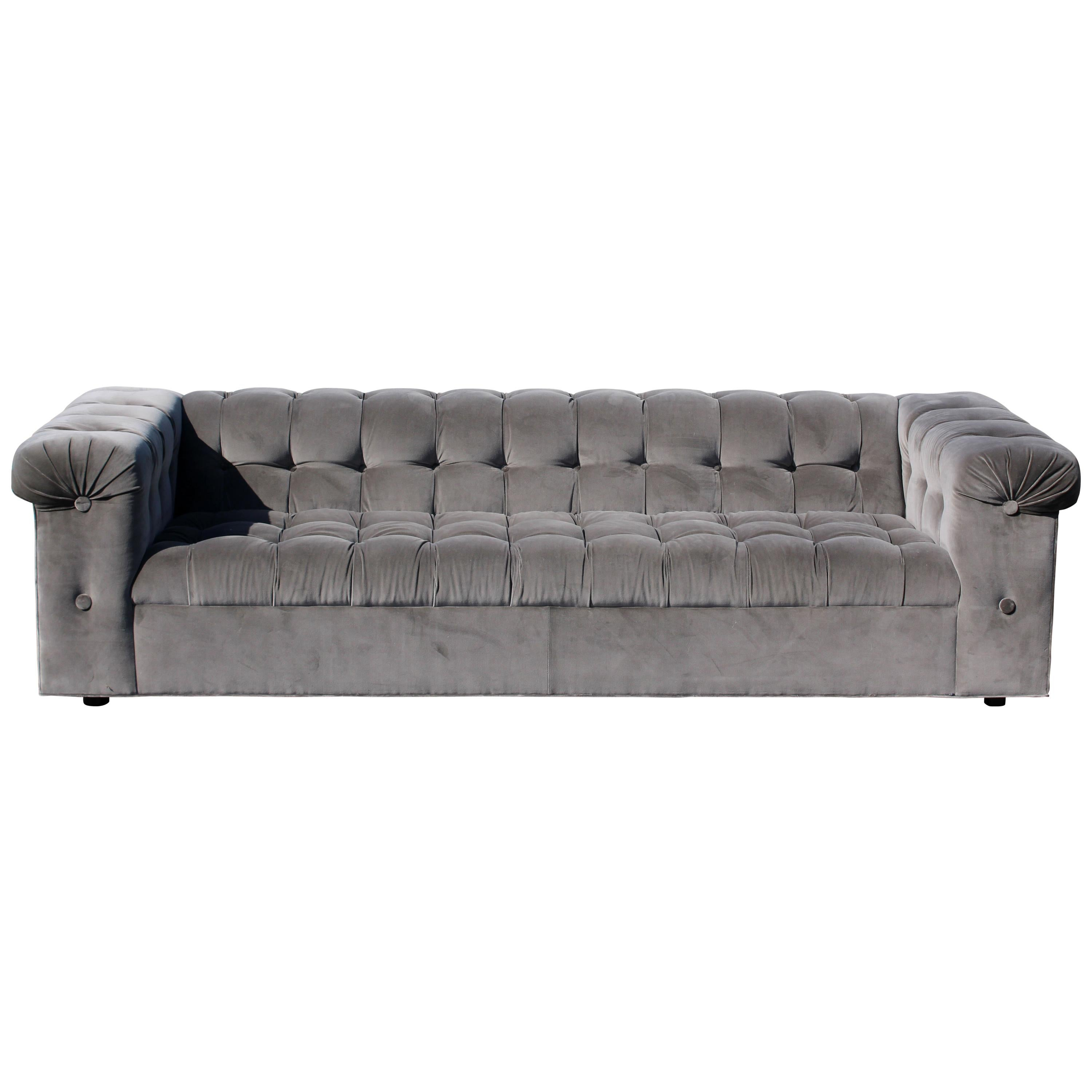 Sofa X Long Mid Century Modern X Long Dunbar Tufted Grey Velvet Party Sofa Model 7160