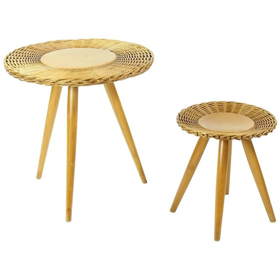 Midcentury Wicker Coffee Table With Stool By Uluv