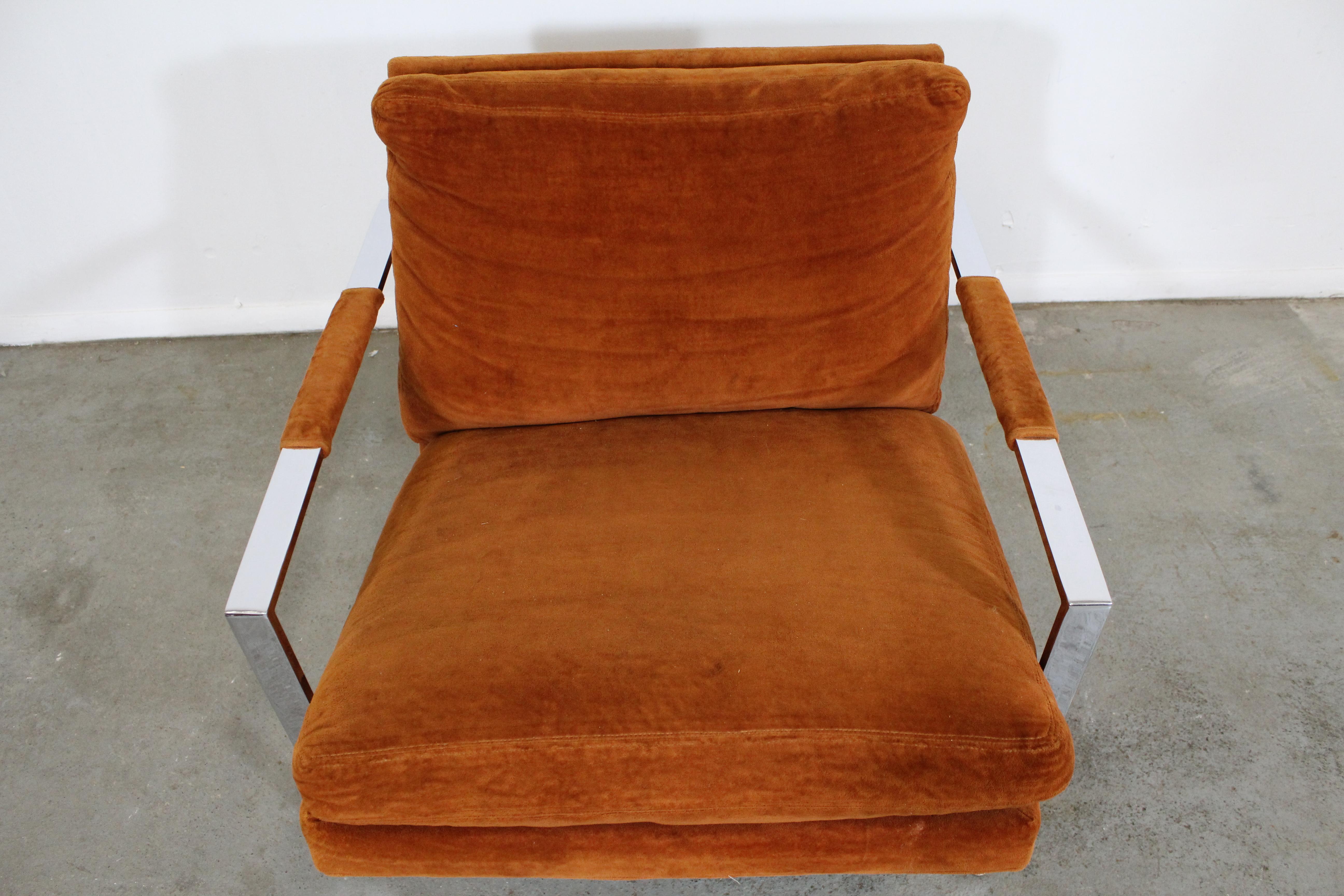 Milo Baughman Burnt Orange Lounge Chair By Thayer Coggin