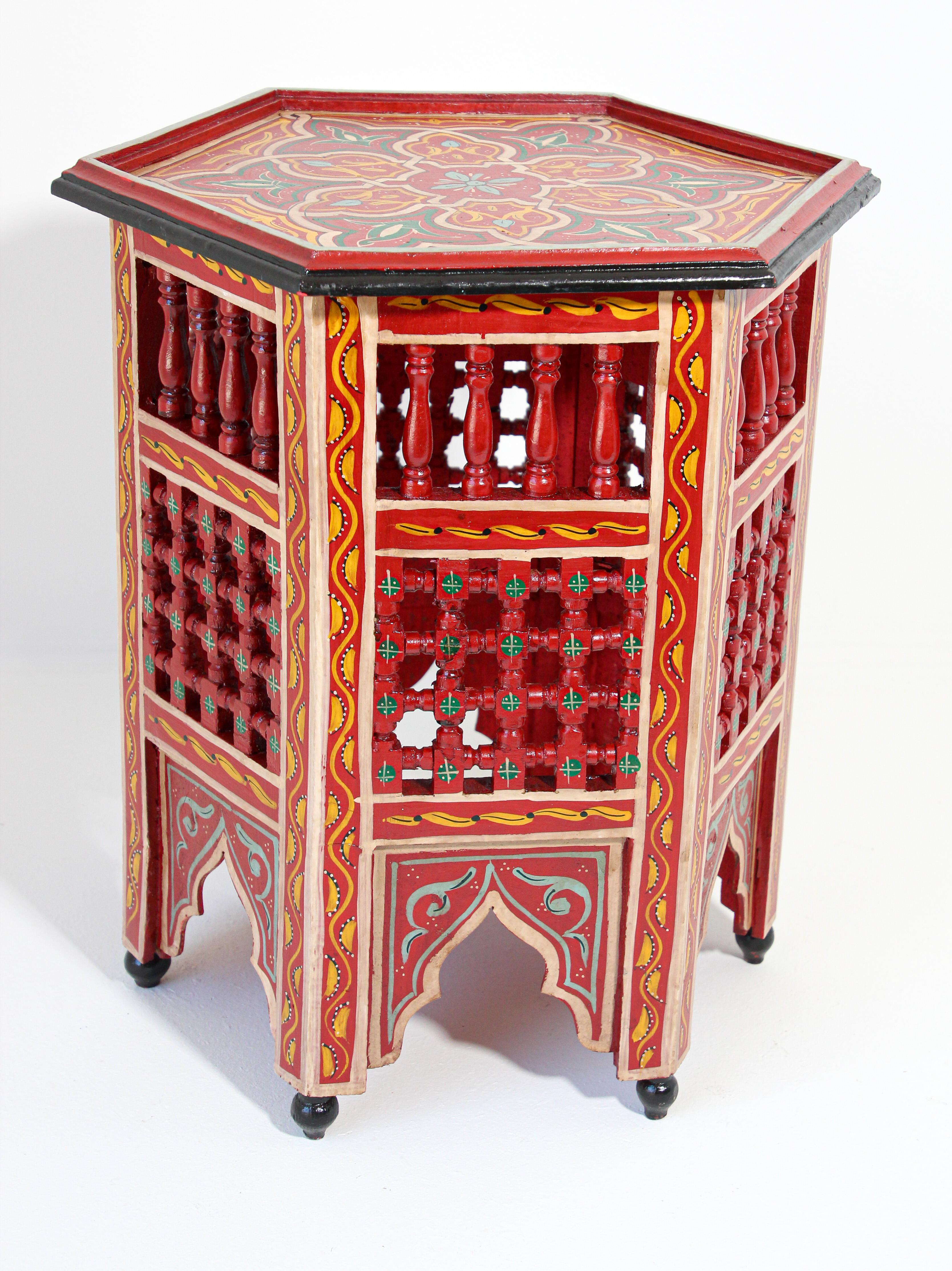 Moroccan Hand Painted Side Table In Red For Sale At 1stdibs