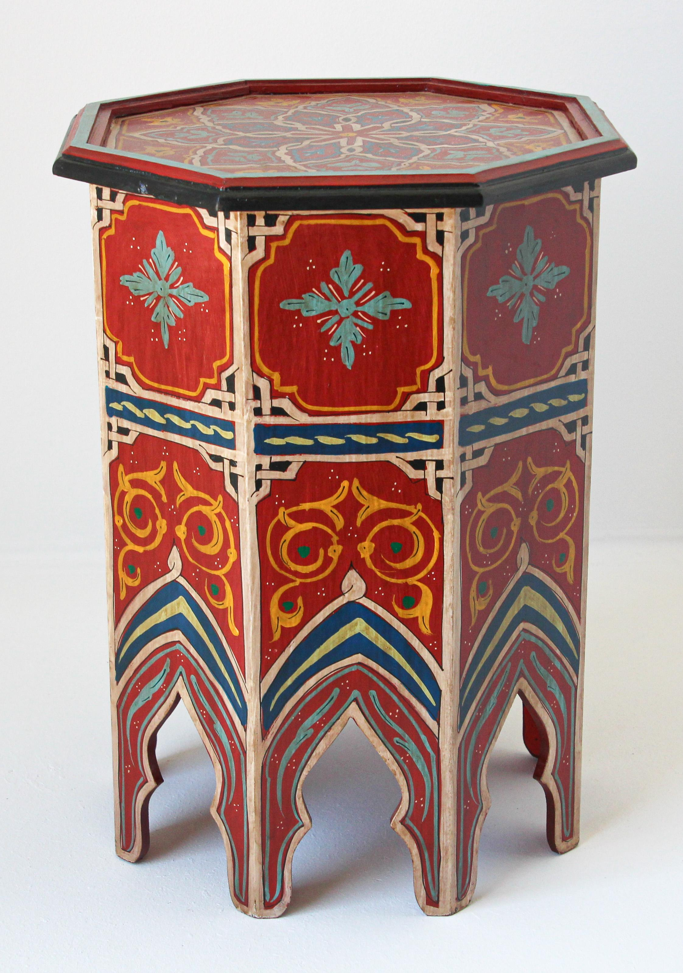 Moroccan Red Moorish Hand Painted Side Table At 1stdibs