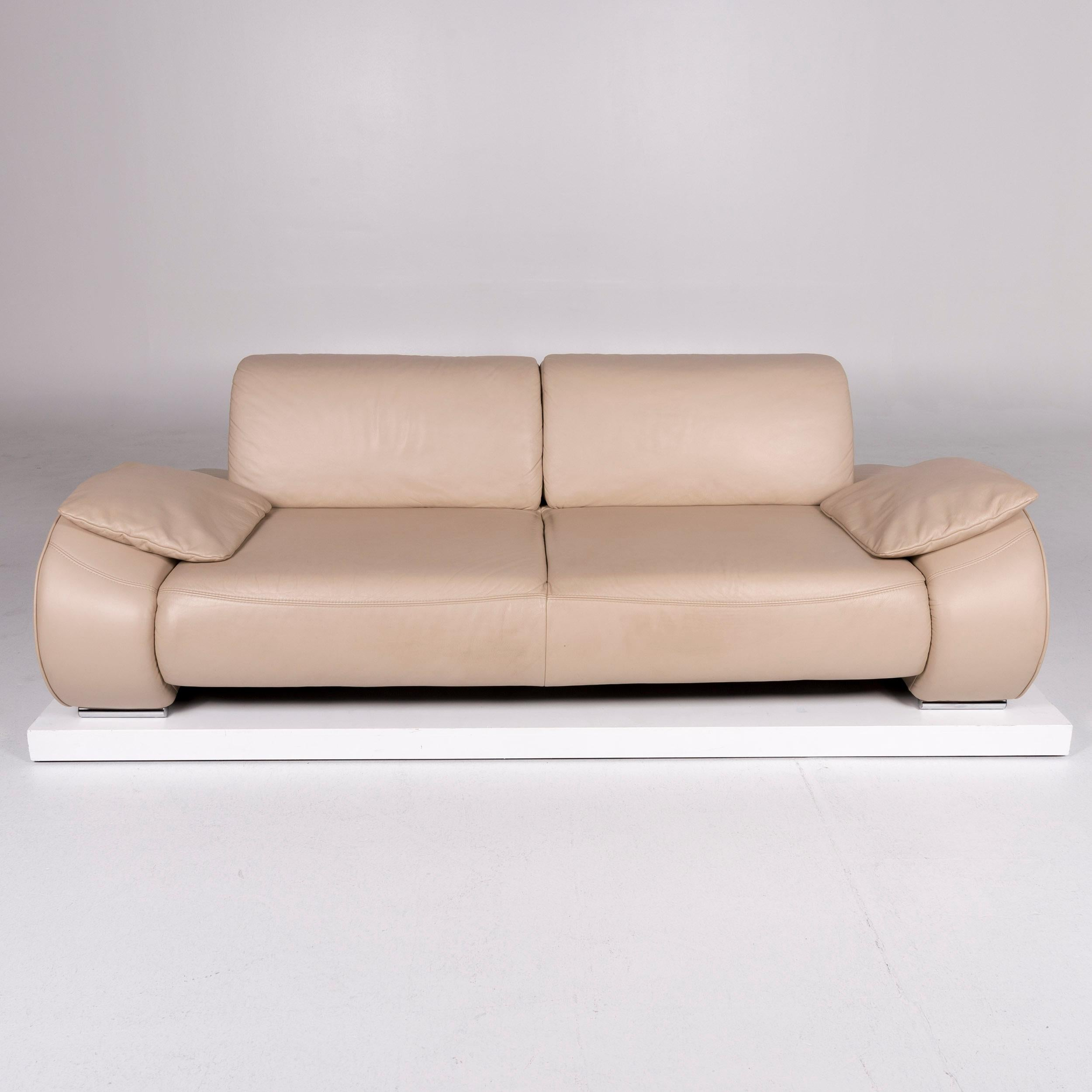 Musterring Designer Leder Sofa Beige Dreisitzer For Sale