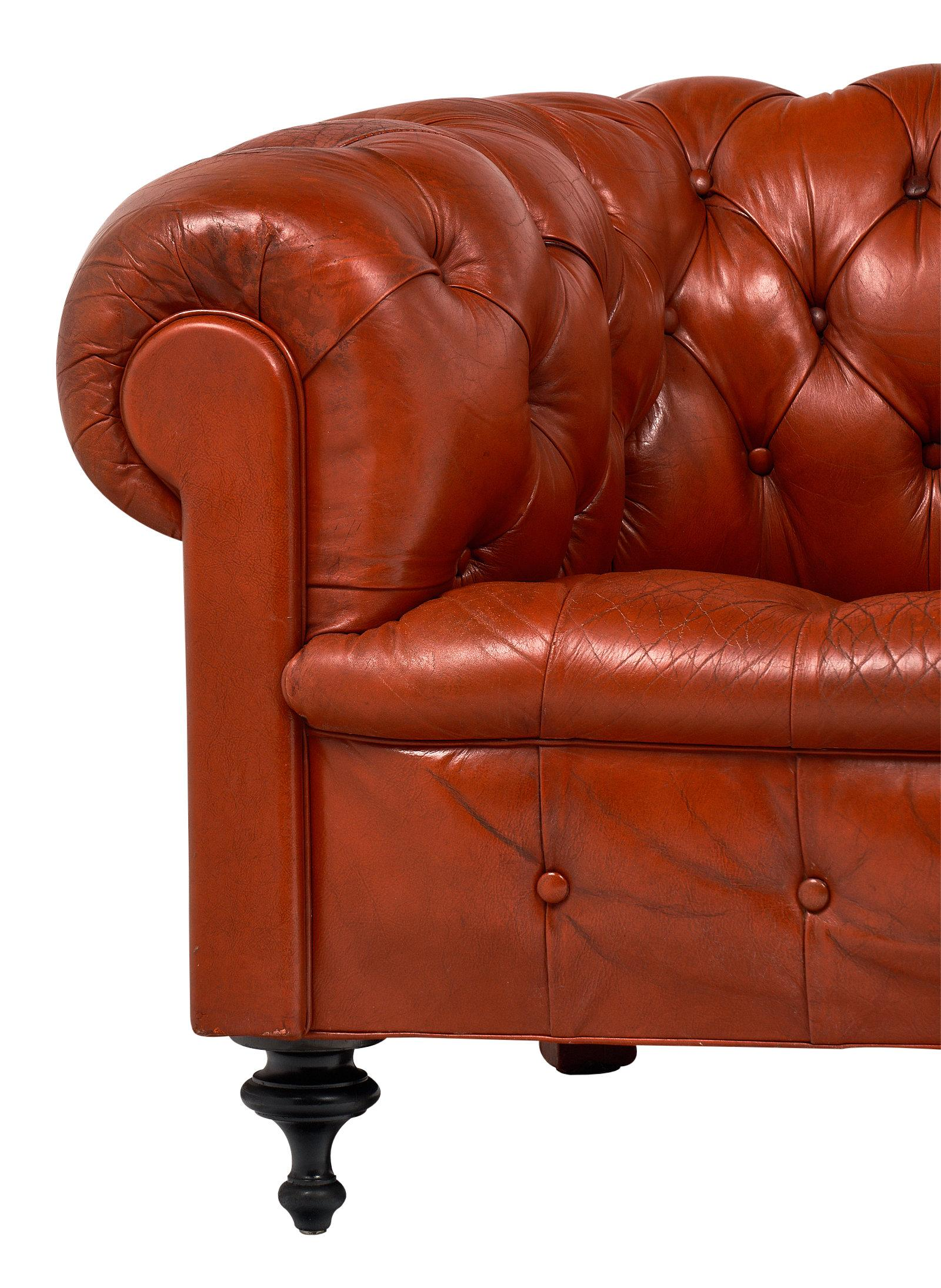 Chesterfield Sofa And Chair Orange Leather Vintage Chesterfield Sofa