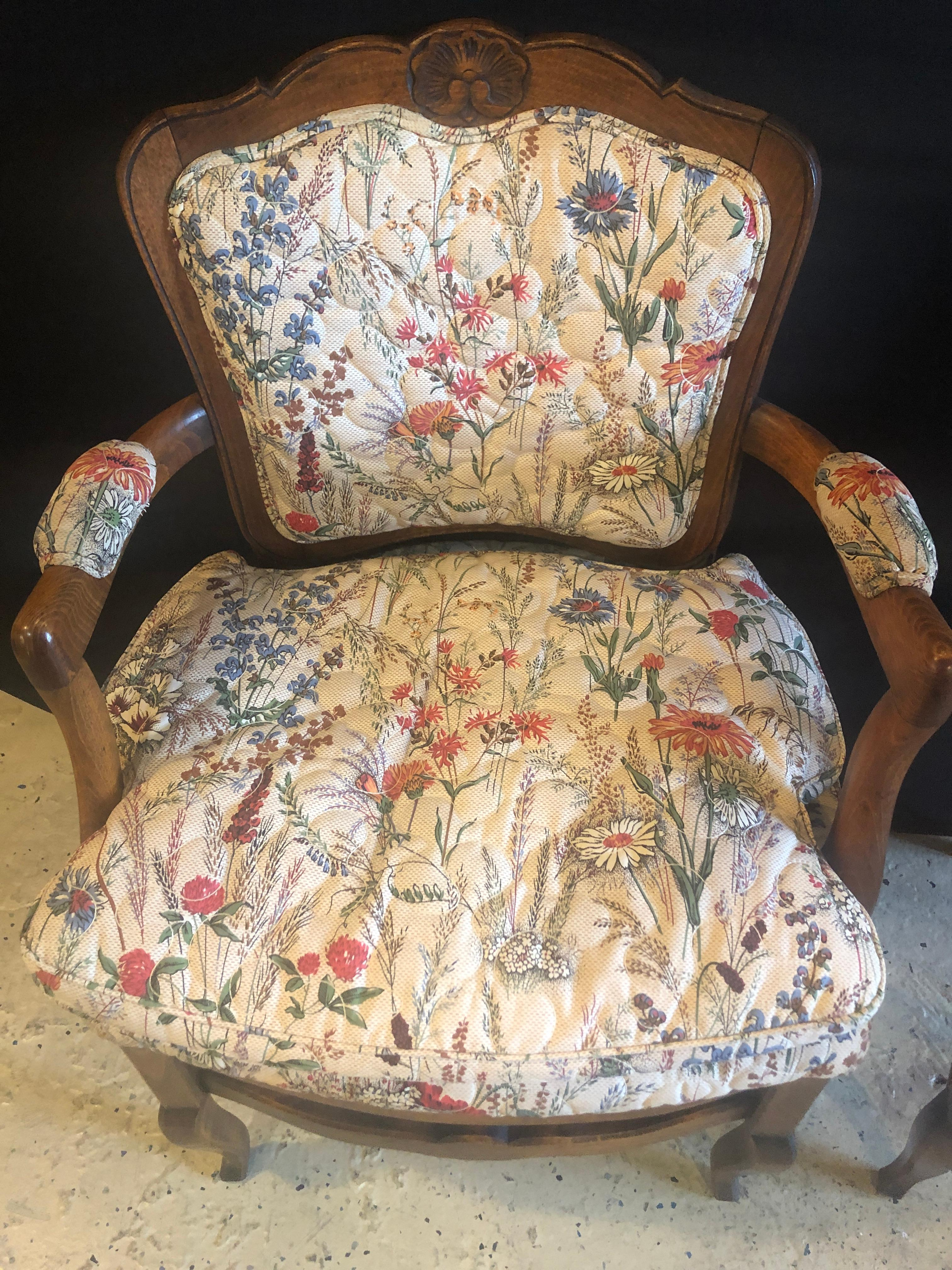 Fauteuils Boudoirs Country French Boudoir Fauteuil Louis Xv Chairs In Quilted Like Upholstery Pair
