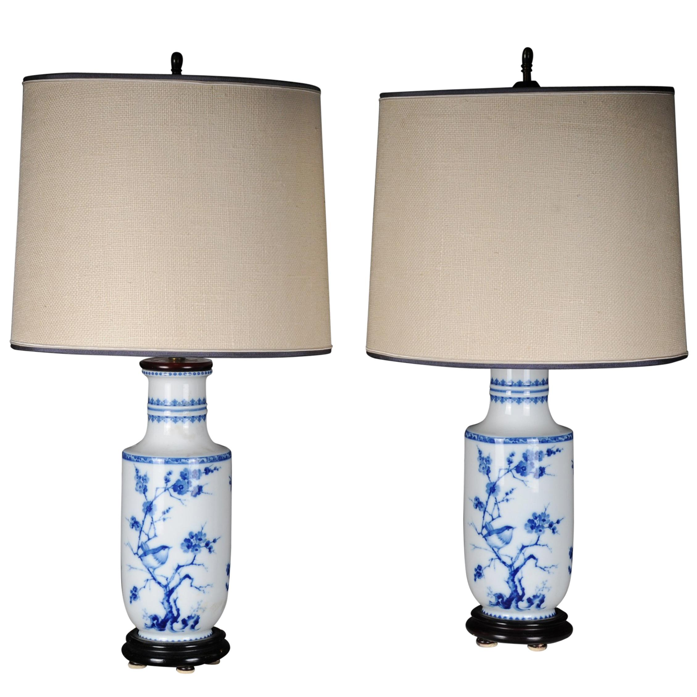 Asian Table Lamp Pair Of Asian Table Lamps Or Table Lamps Porcelain 20th Century Asian Art